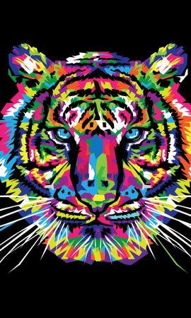 84411 免費下載壁紙 向量, 矢量, 老虎, 虎, 艺术, 多彩多姿, 五颜六色, 装饰品 屏保和圖片