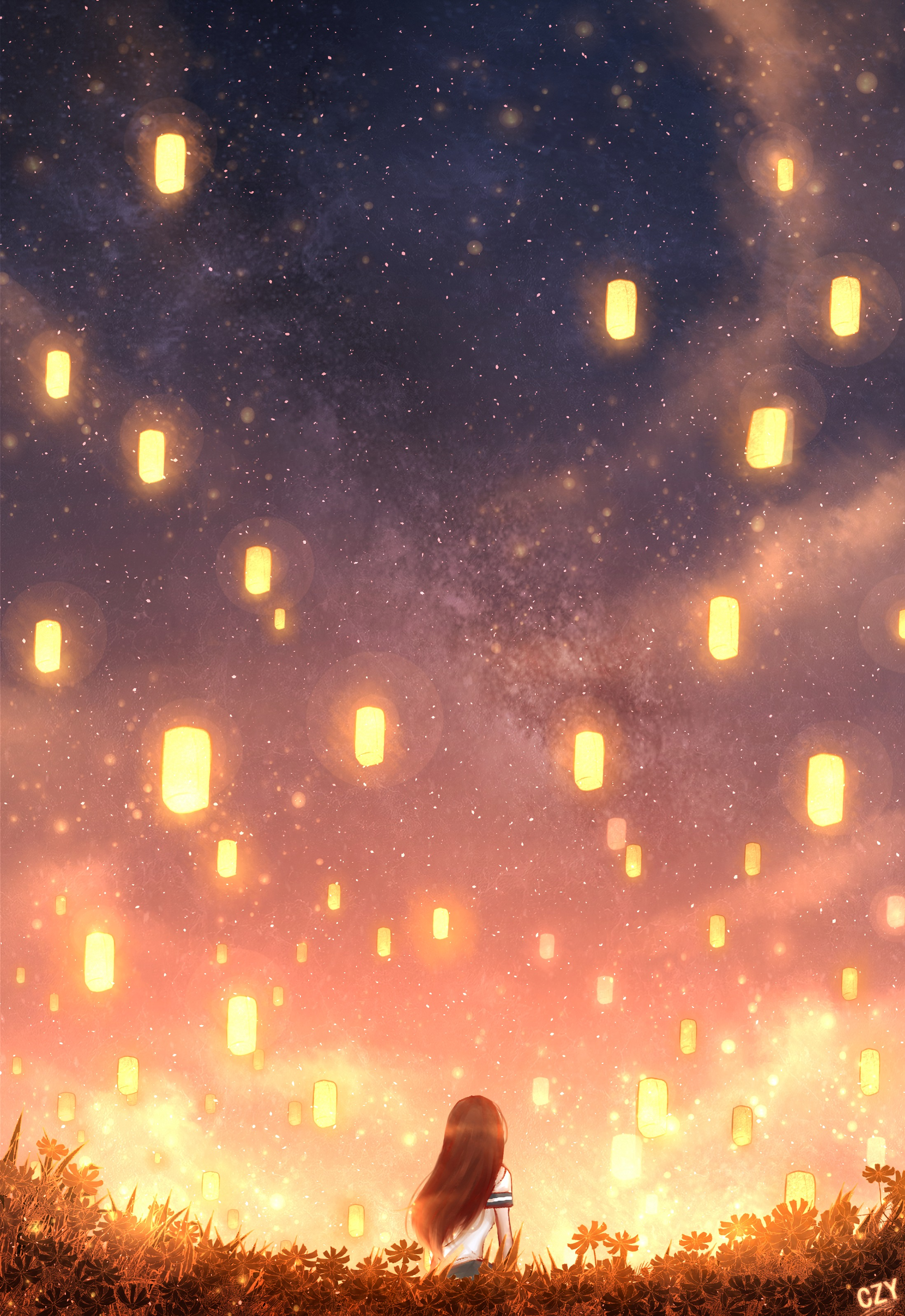 156882 download wallpaper Anime, Girl, Lanterns, Lights, Grass, Art screensavers and pictures for free