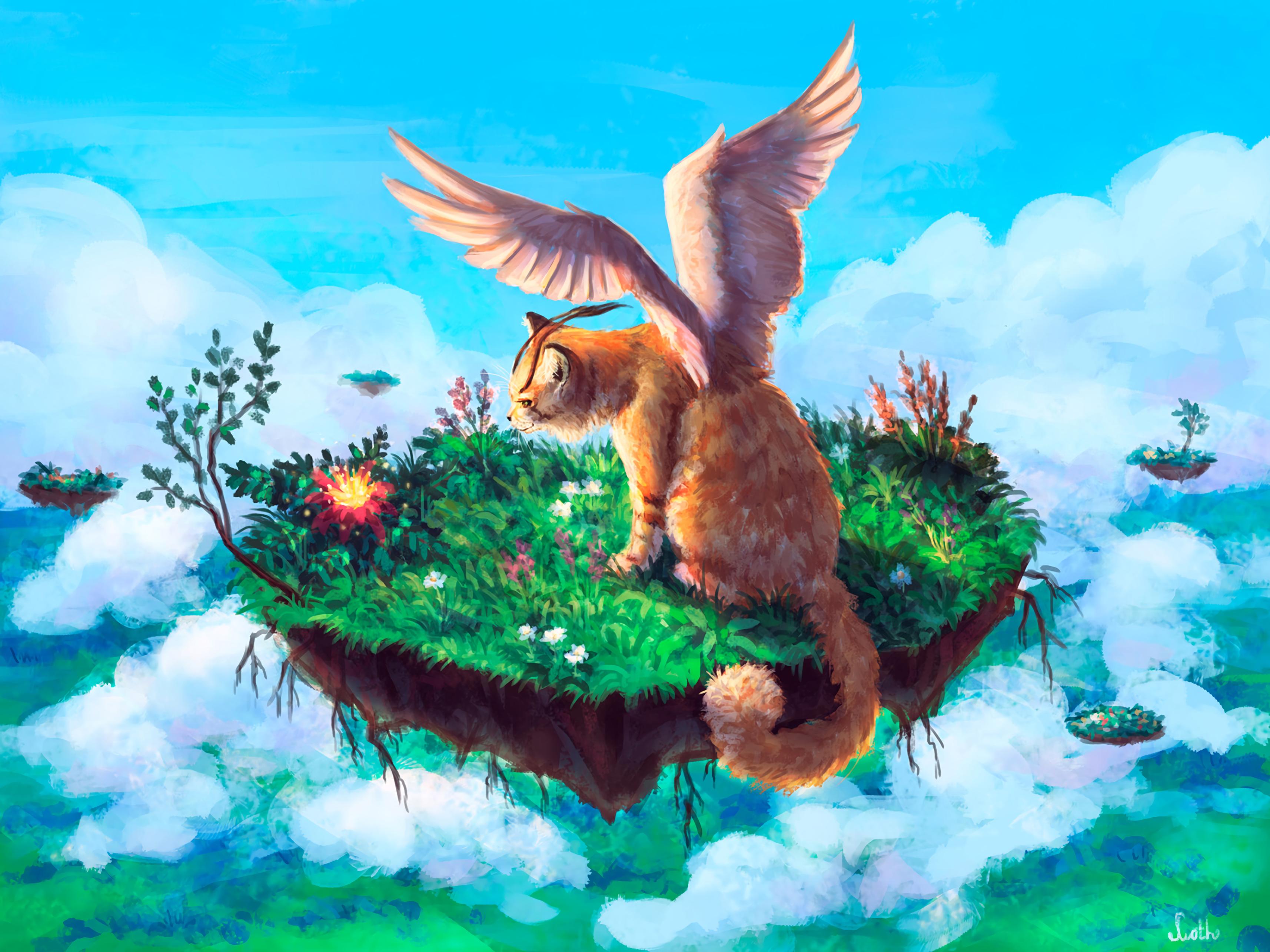 92432 papel de parede 1080x2400 em seu telefone gratuitamente, baixe imagens Arte, Gato, Animal, Asas, Fantástico 1080x2400 em seu celular