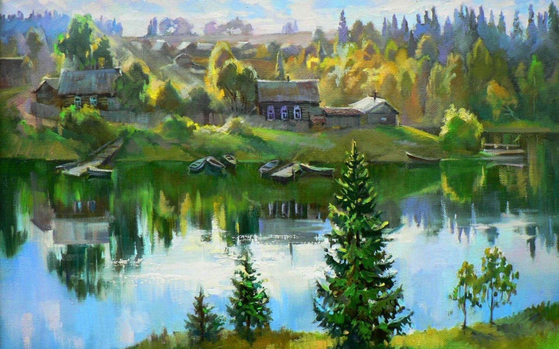 27424 скачать обои Пейзаж, Дома, Река, Деревья, Рисунки - заставки и картинки бесплатно
