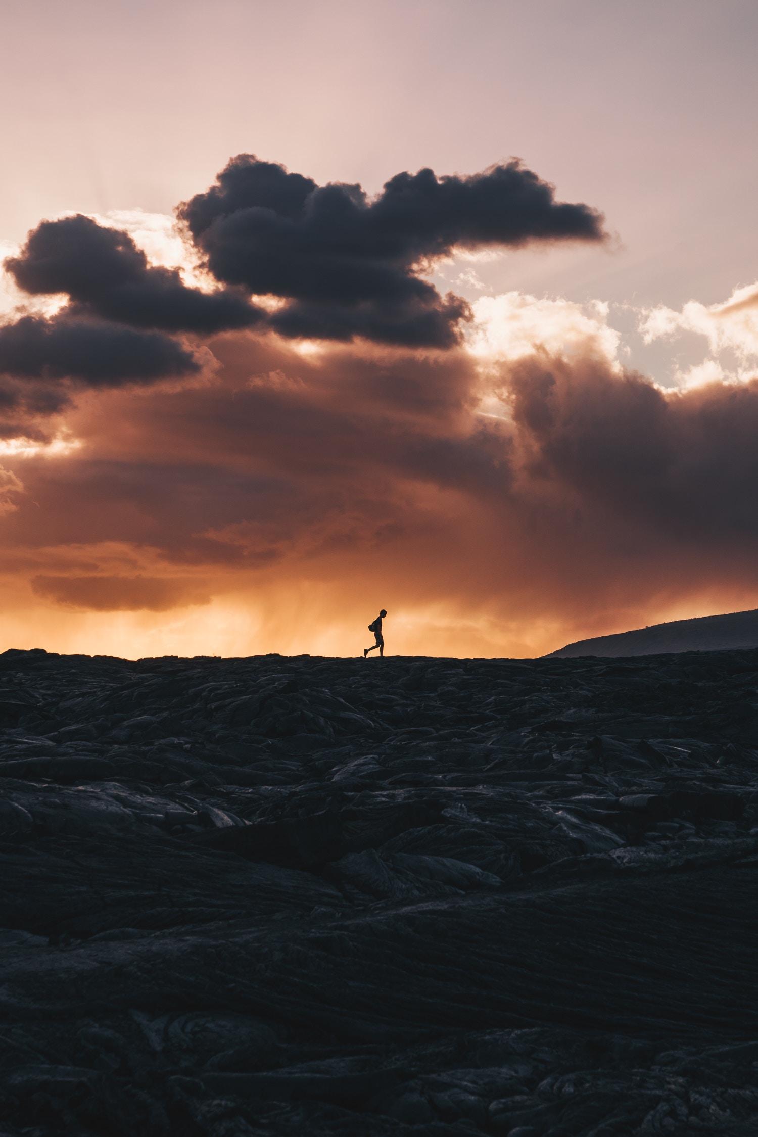81517 скачать обои Природа, Силуэт, Горизонт, Вулкан, Облака, Закат, Калапана, Гавайи - заставки и картинки бесплатно