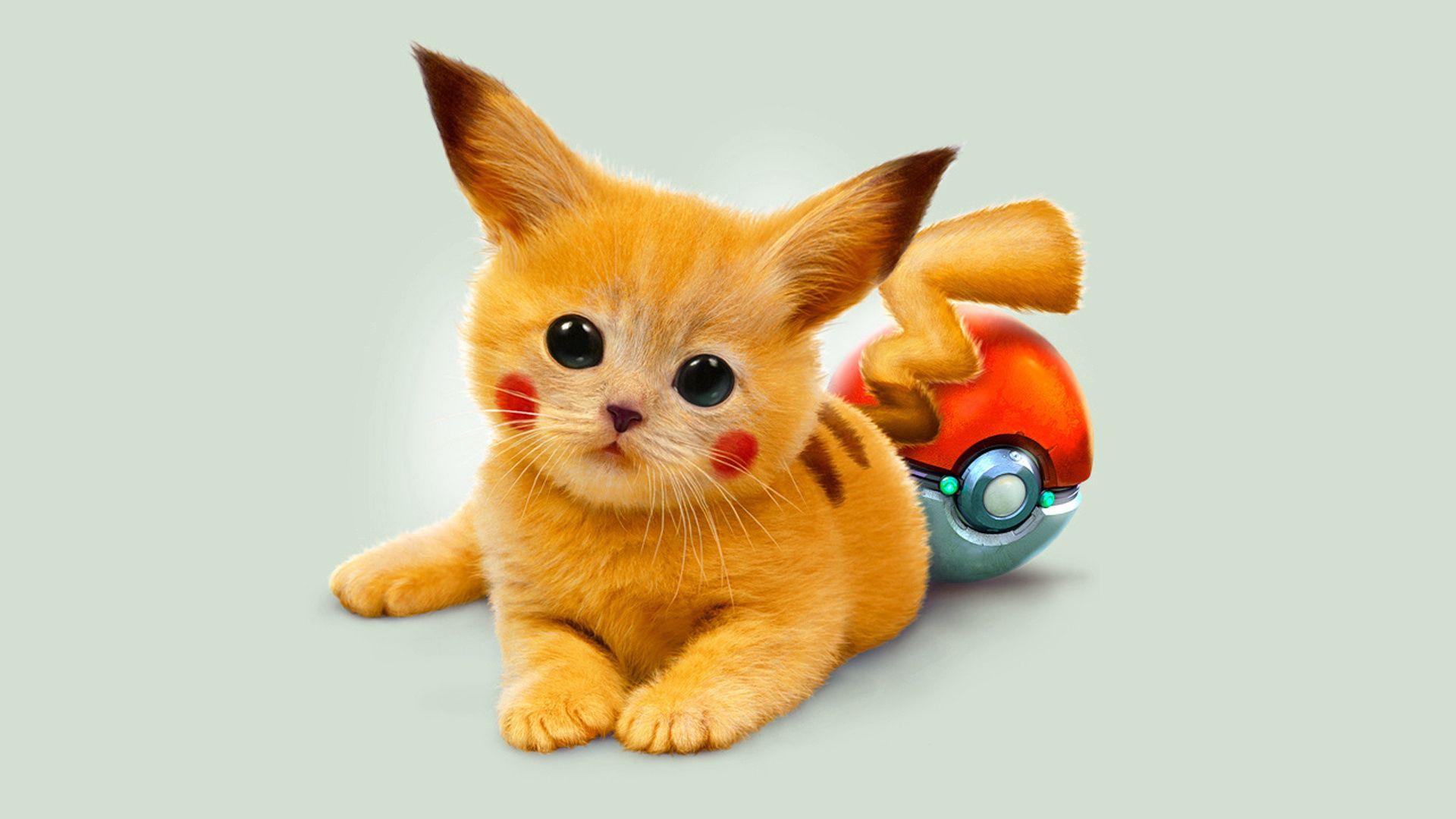 115419 download wallpaper Miscellanea, Miscellaneous, Art, Kitty, Kitten, Pokemon, Pokémon, Redhead, Eyes, Pikachu screensavers and pictures for free