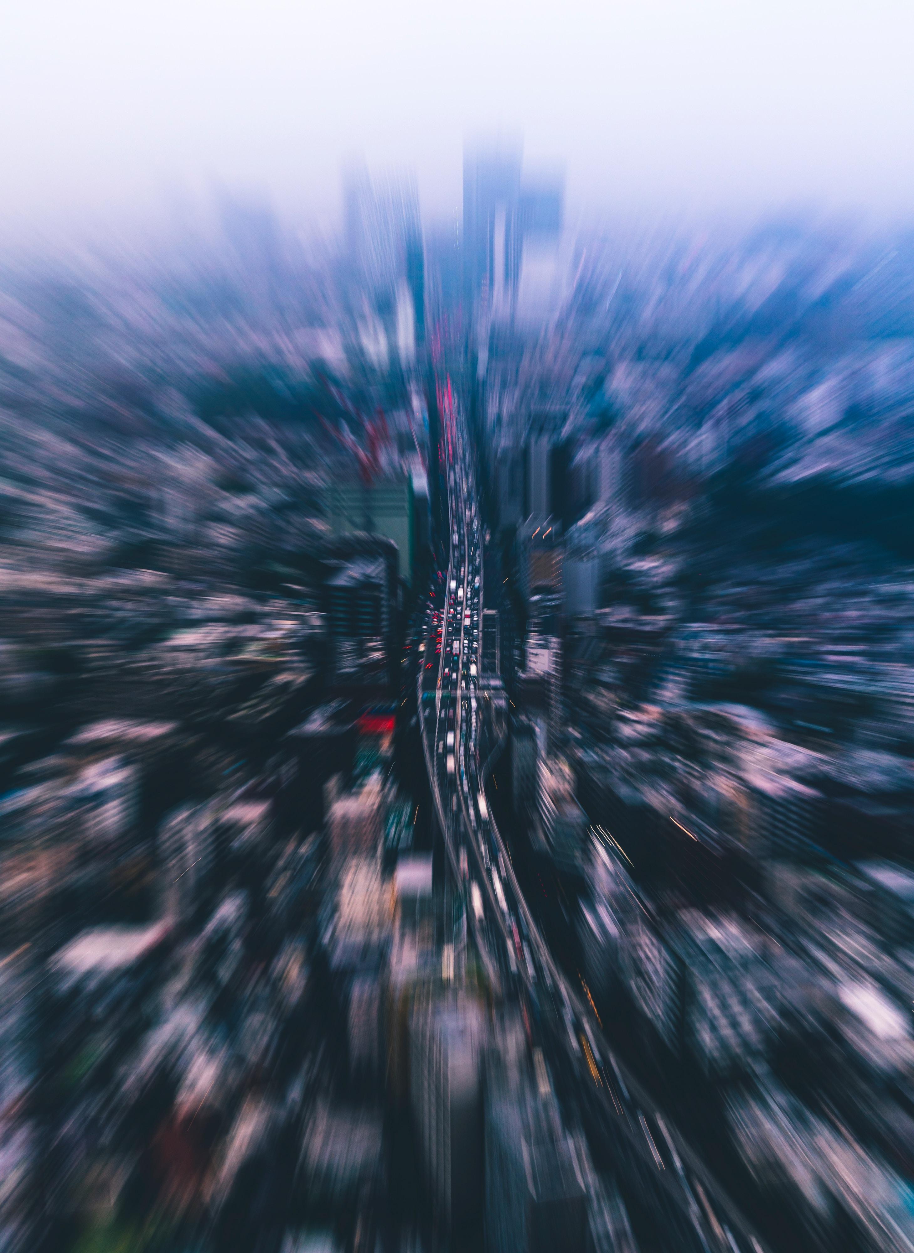 80267壁紙のダウンロード市, 都市, 上から見る, ぼやけ, 滑らか, 建物, 通り-スクリーンセーバーと写真を無料で