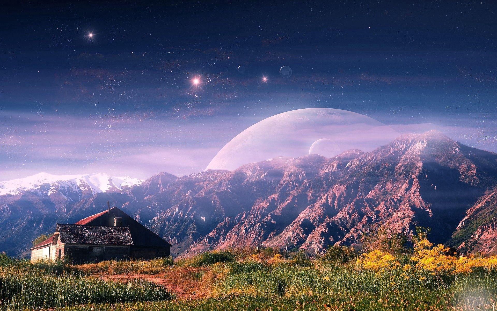 149878 Заставки и Обои Горы на телефон. Скачать Природа, Домик, Горы, Планеты картинки бесплатно
