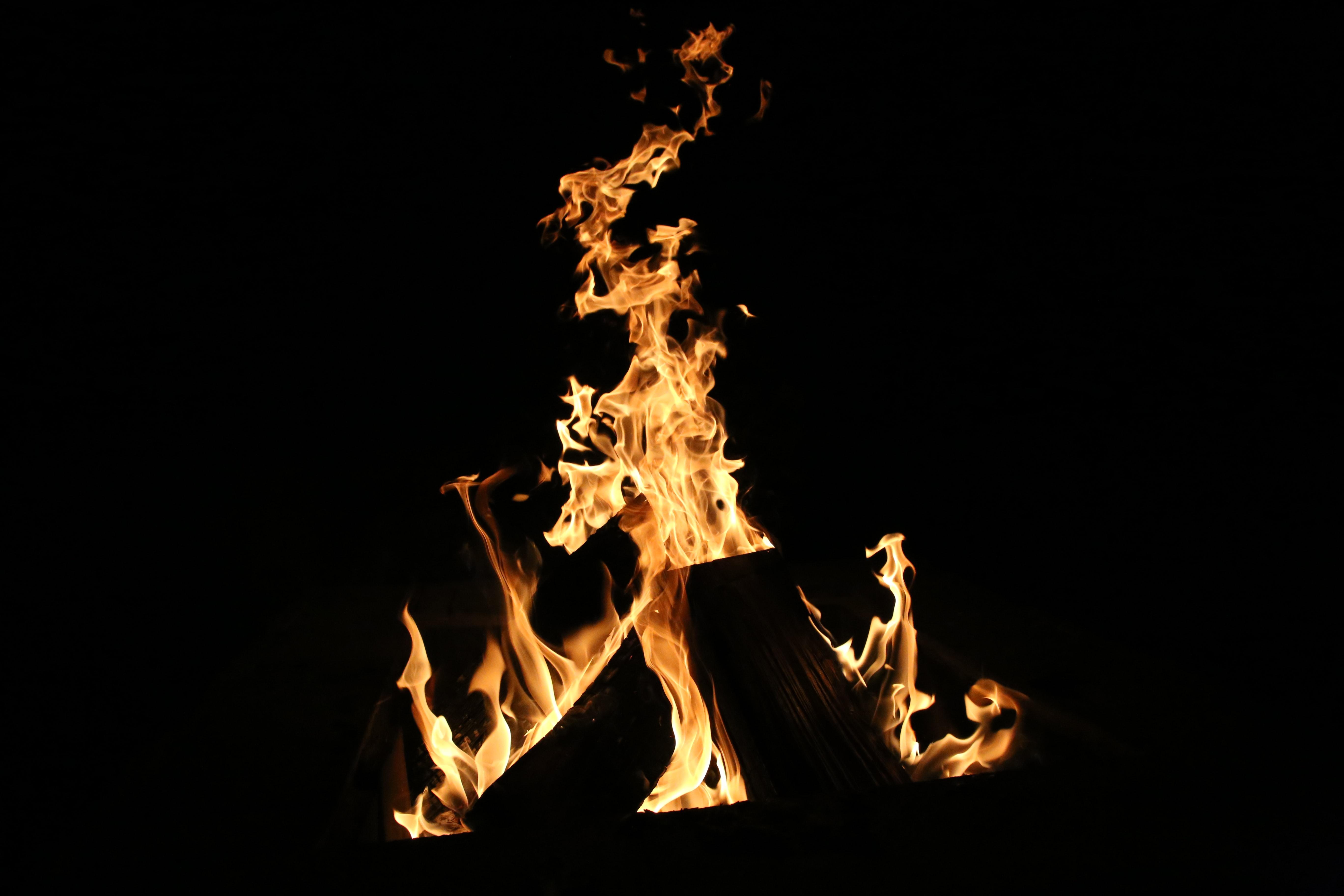 76505 免費下載壁紙 篝火, 火, 火焰, 黑色的, 黑暗的, 黑暗 屏保和圖片