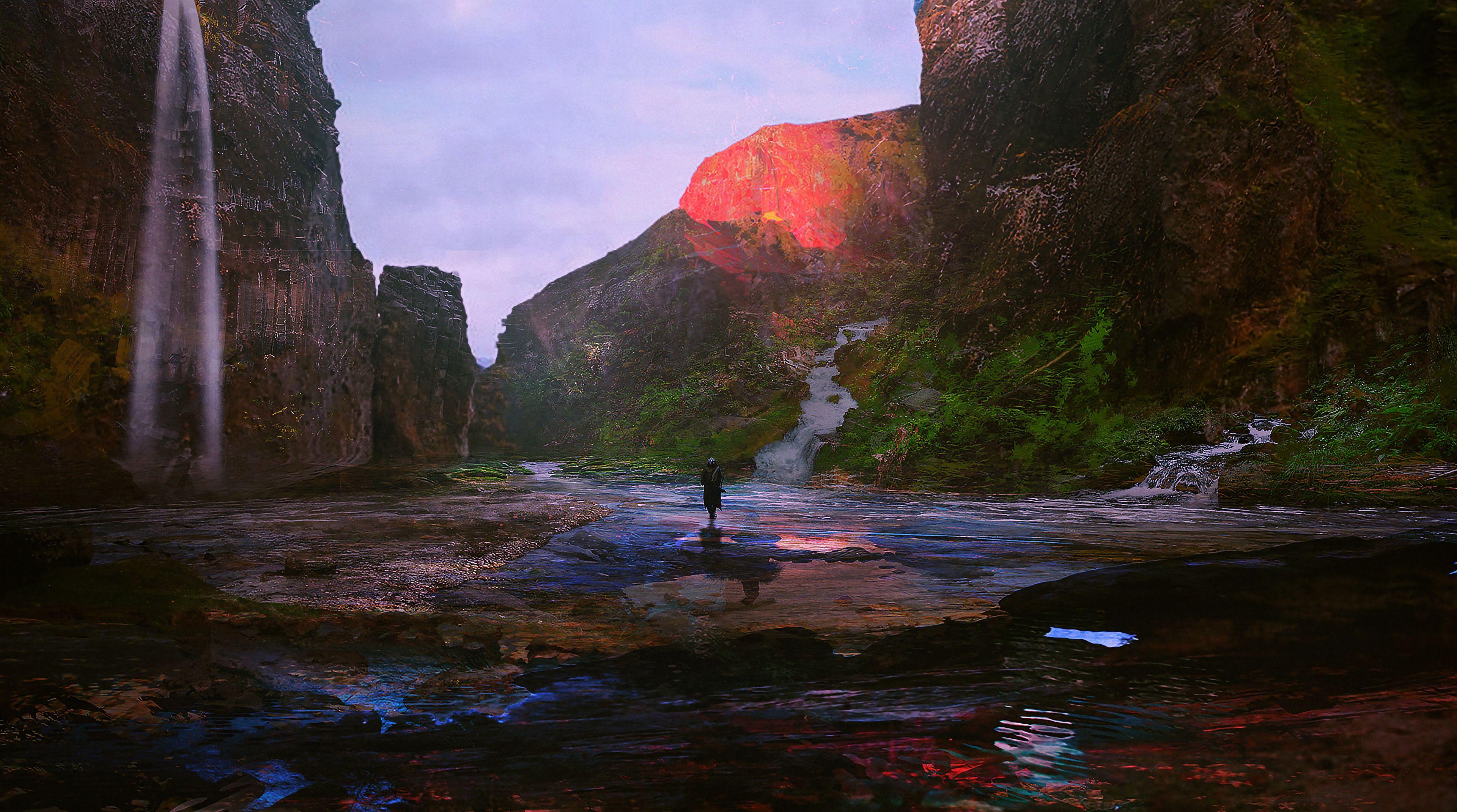 85578 Hintergrundbild 720x1280 kostenlos auf deinem Handy, lade Bilder Flüsse, Kunst, Mountains, Fließen, Fluss, Einsamkeit 720x1280 auf dein Handy herunter