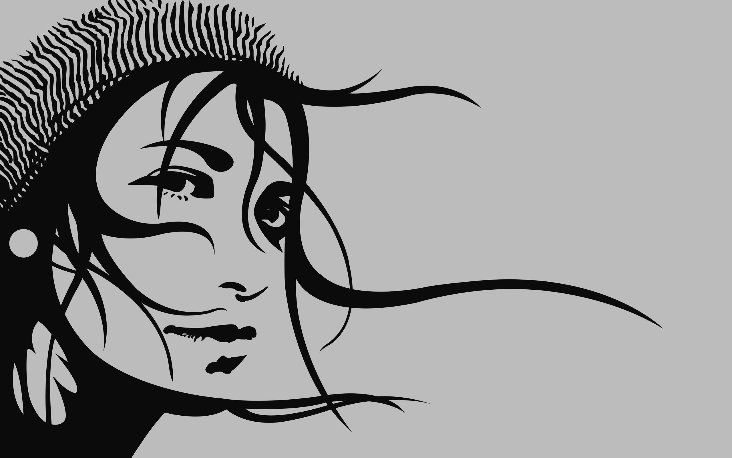 99899 скачать обои Вектор, Шапка, Девушка, Волосы, Взгляд - заставки и картинки бесплатно
