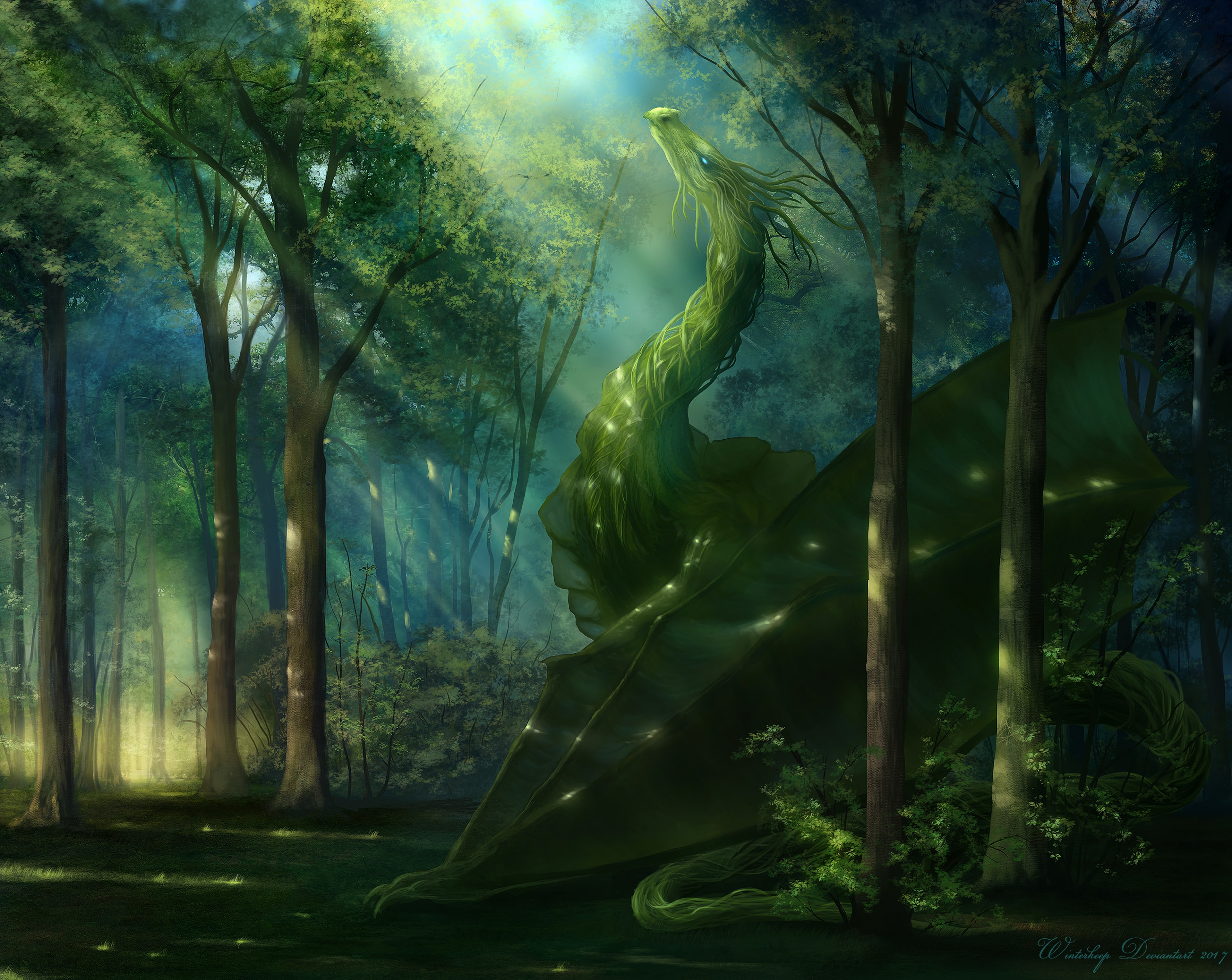 141471 download wallpaper Dragon, Forest, Art, Sunlight screensavers and pictures for free
