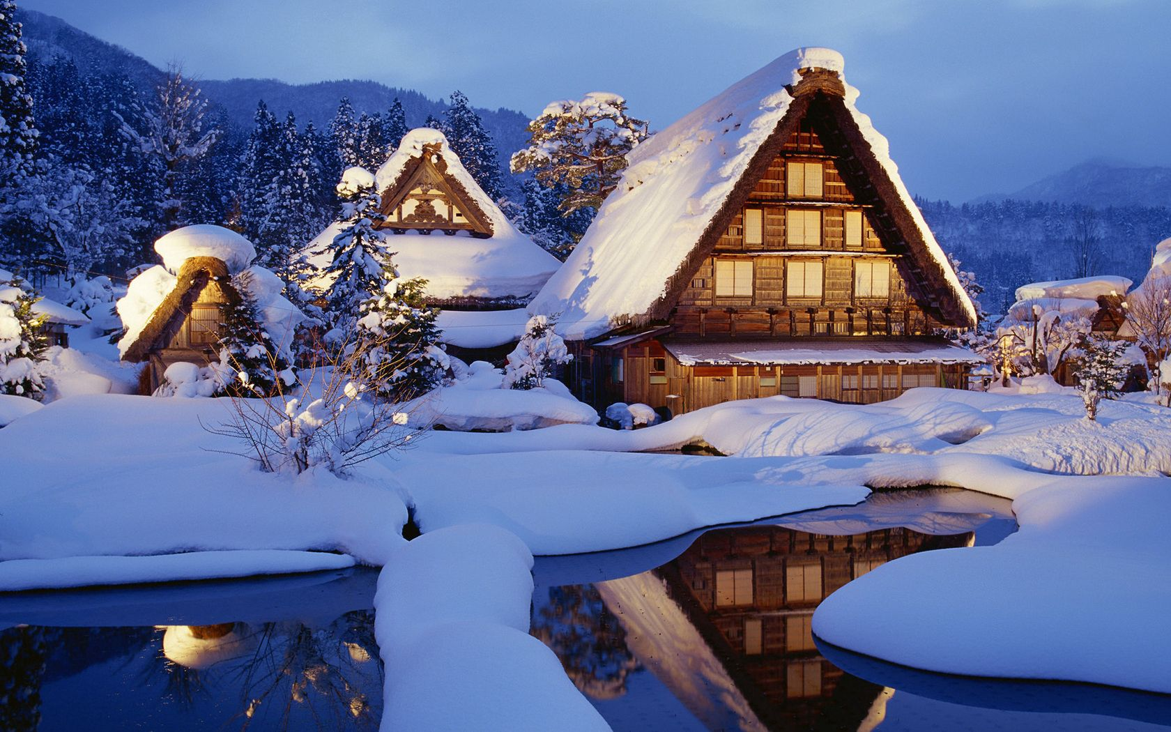 109737 download wallpaper Winter, Nature, Houses, Snow, Lake, Reflection, Shine, Light, Japan, Small Houses screensavers and pictures for free