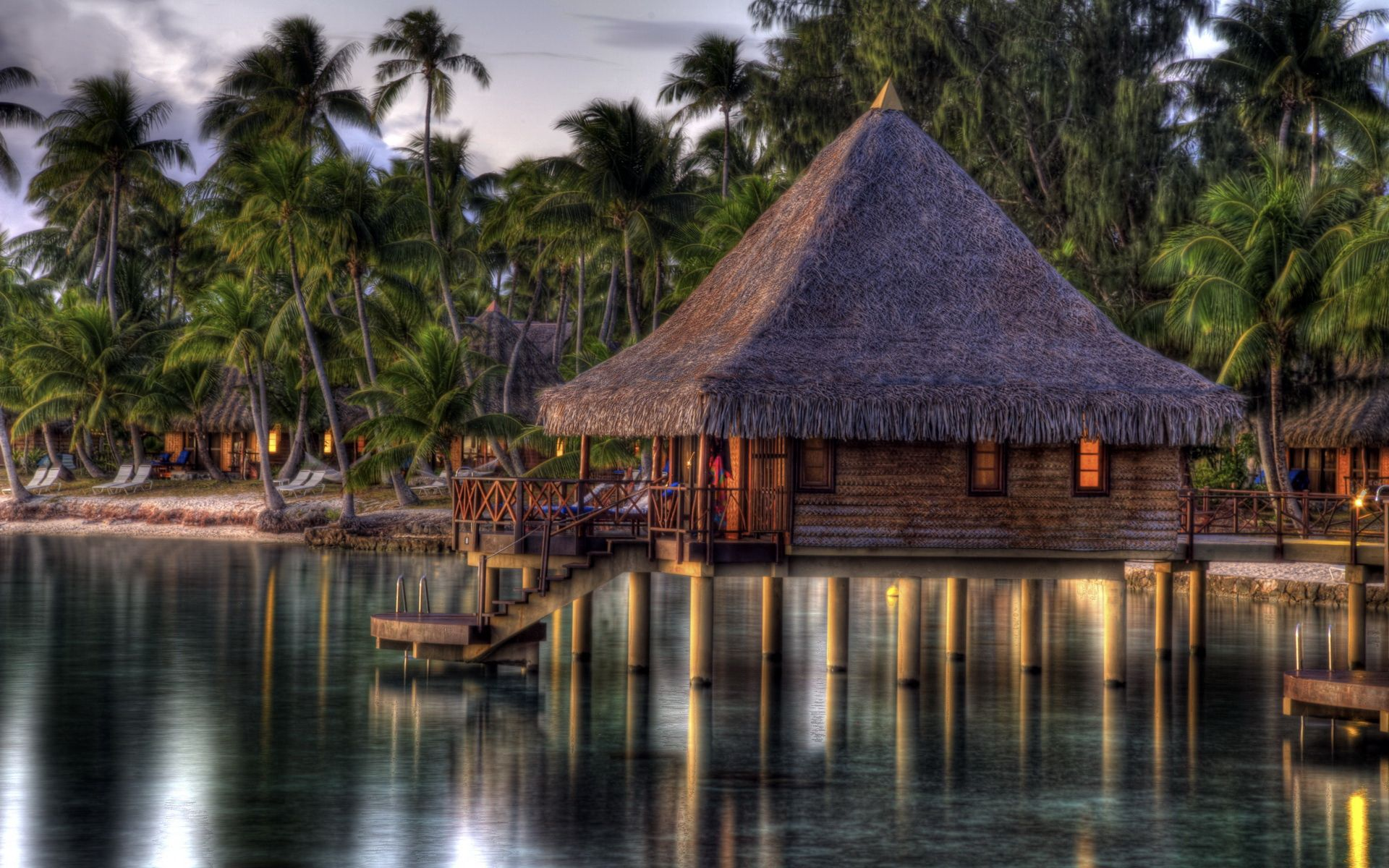 150417 download wallpaper Nature, Hut, Small House, Lodge, Tropics, Water, Shore, Bank, Blur, Smooth, Palms screensavers and pictures for free