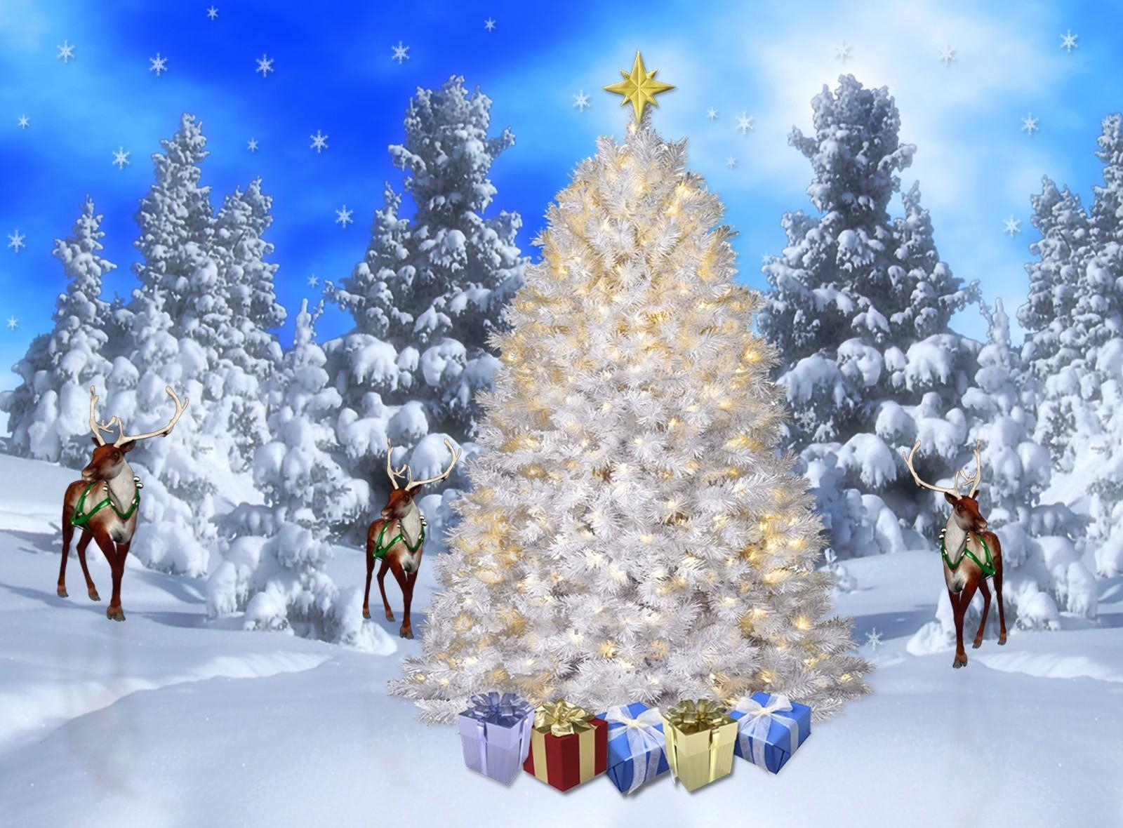 108096 download wallpaper Holidays, Forest, Snowflakes, Snow, Deers, Presents, Gifts, Holiday, Fir-Trees screensavers and pictures for free