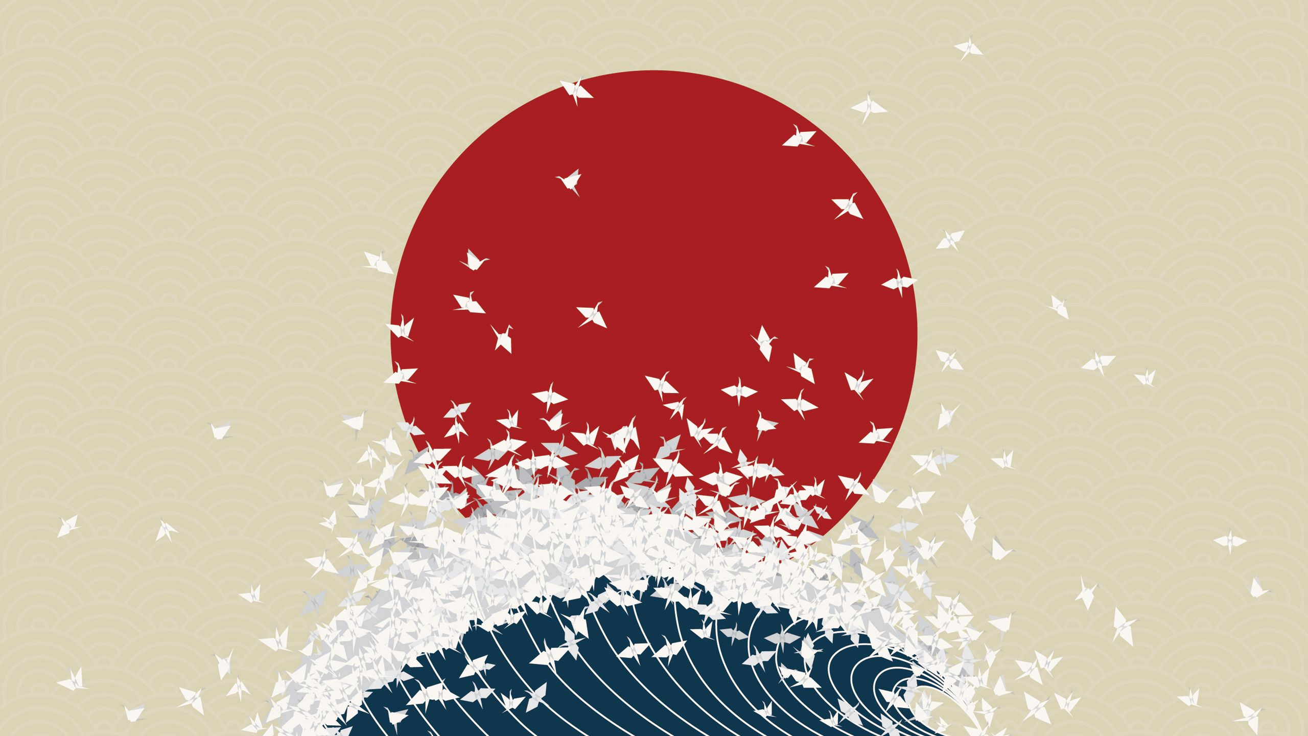 90891 download wallpaper Japan, Vector, Minimalism, Wave, Origami, Rising Sun screensavers and pictures for free