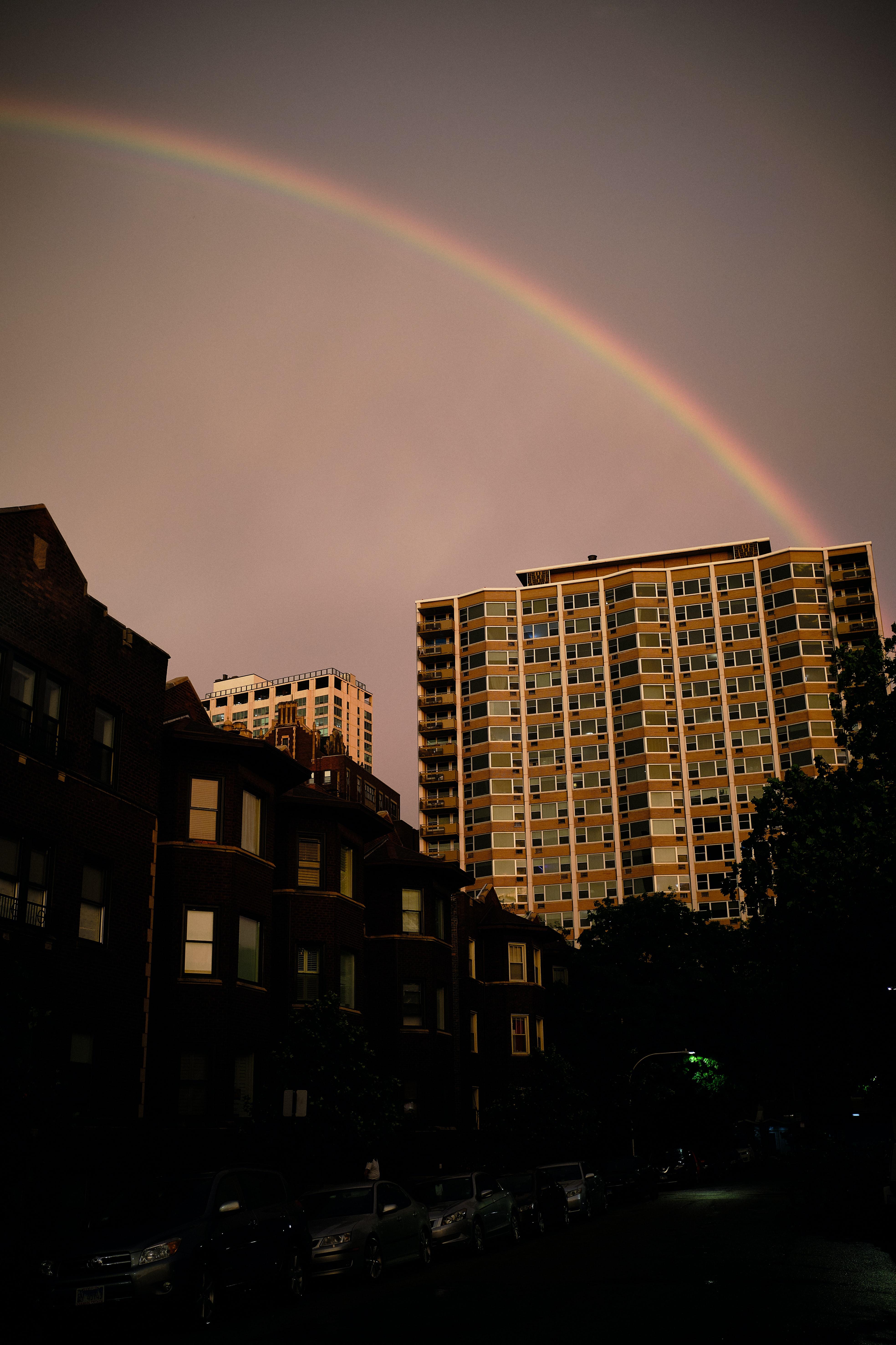 72757 免費下載壁紙 建造, 建筑物, 城市, 彩虹, 天空, 建筑 屏保和圖片