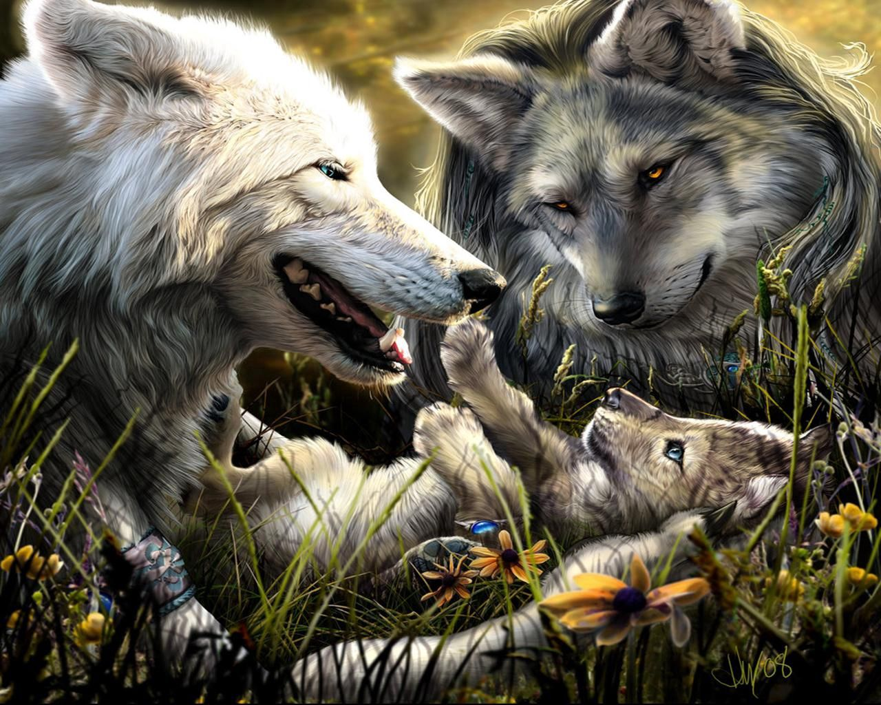 67441 download wallpaper Fantasy, Wolfs, Love, Family, Kid, Tot, Birth screensavers and pictures for free