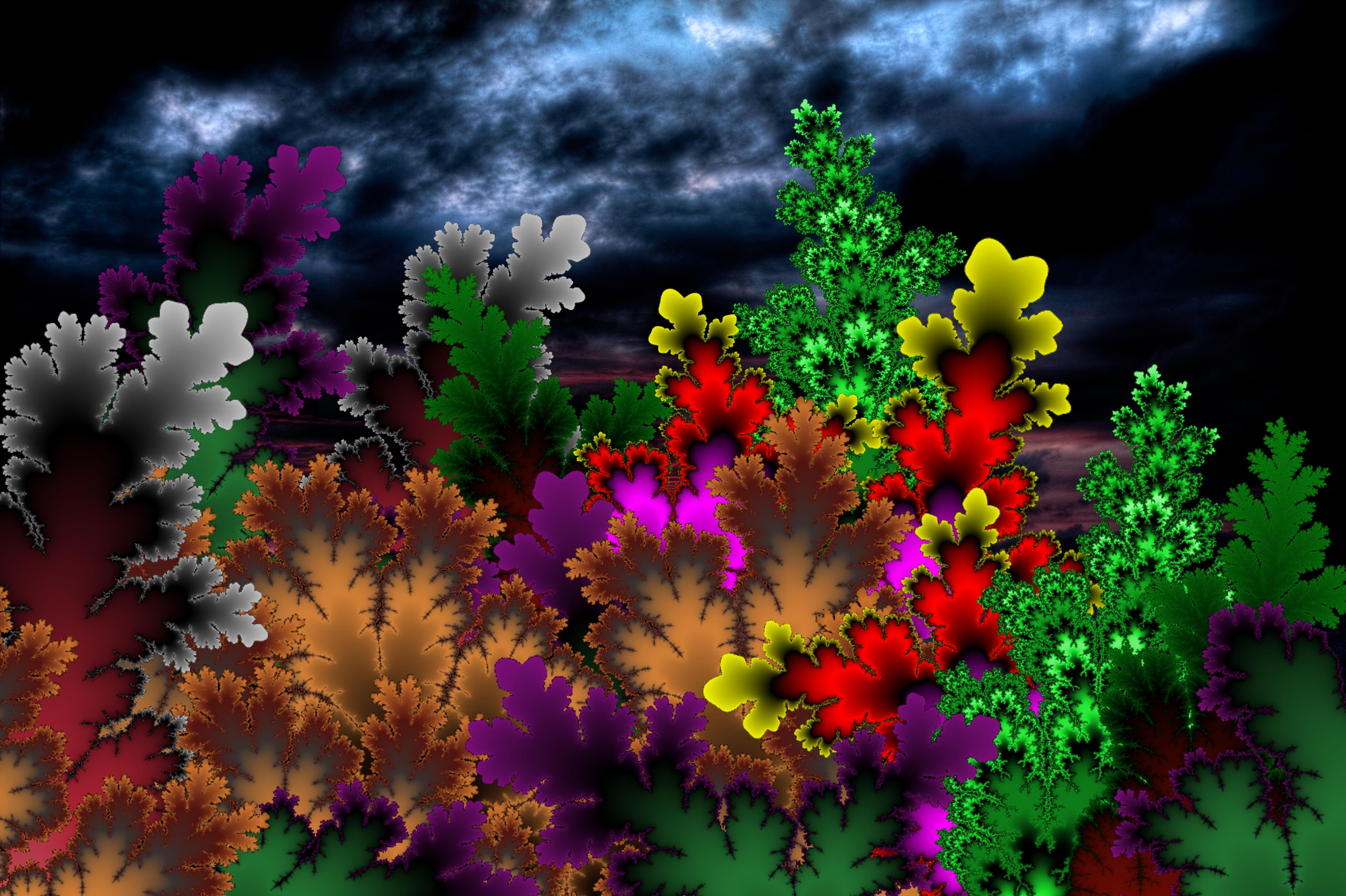 147772 скачать обои Абстракция, Разноцветный, Фон, Темный, Узоры - заставки и картинки бесплатно