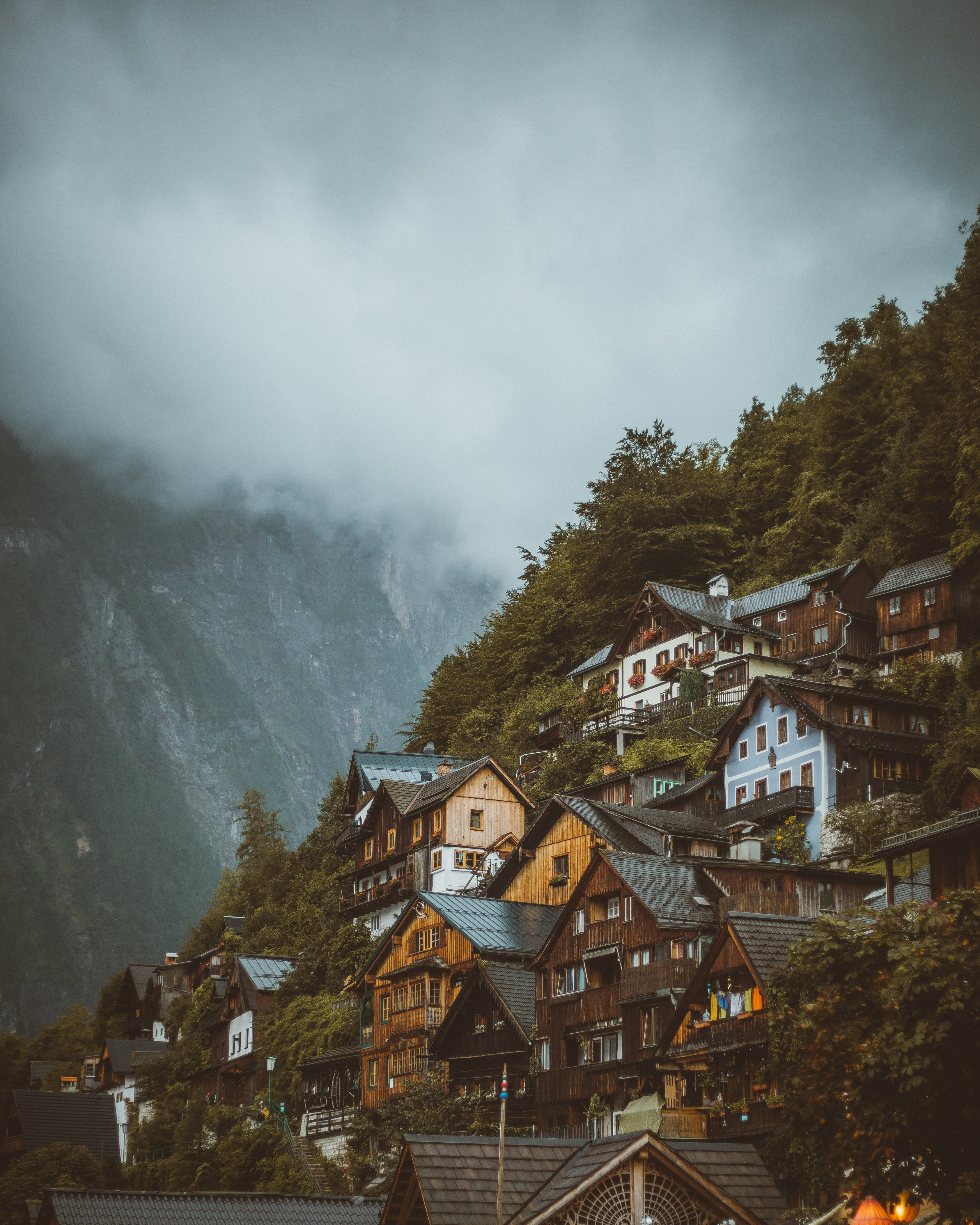 127786 Screensavers and Wallpapers Houses for phone. Download Nature, Houses, Slope, Fog, Mountains pictures for free