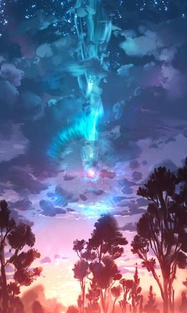 85239 скачать обои Арт, Деревья, Облака, Краска, Пейзаж - заставки и картинки бесплатно