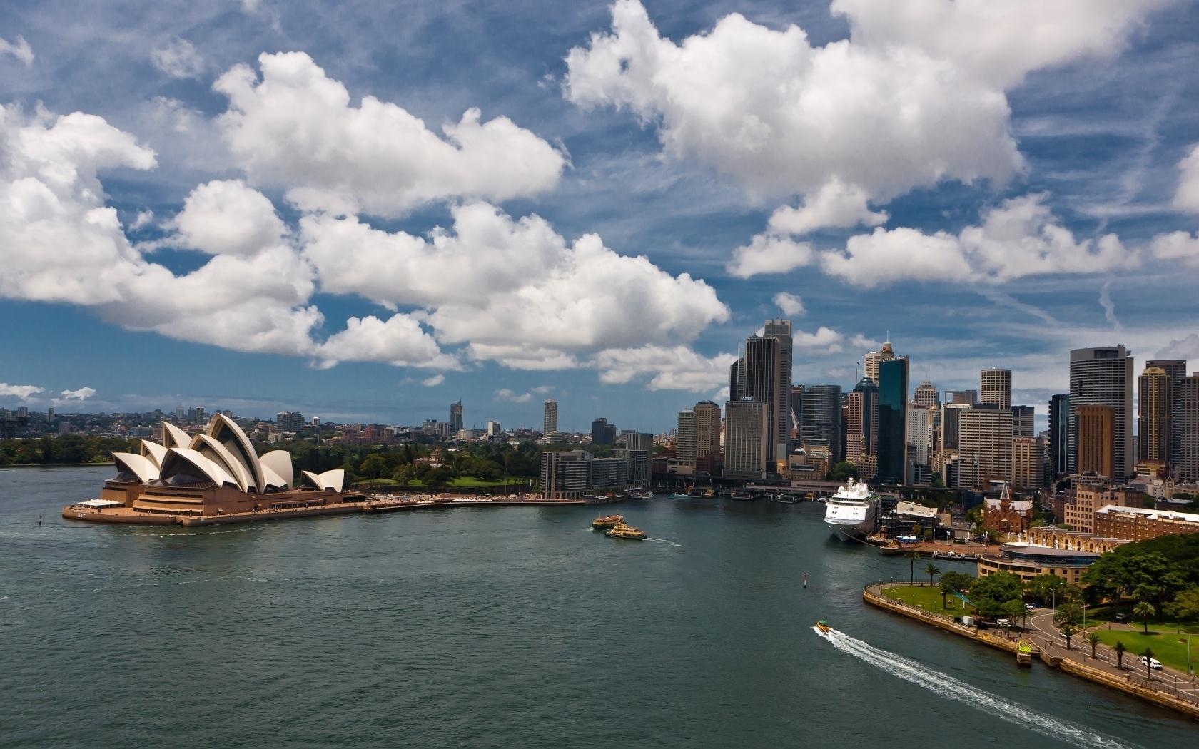26350 скачать обои Пейзаж, Города, Море, Облака, Сидней (Sydney) - заставки и картинки бесплатно