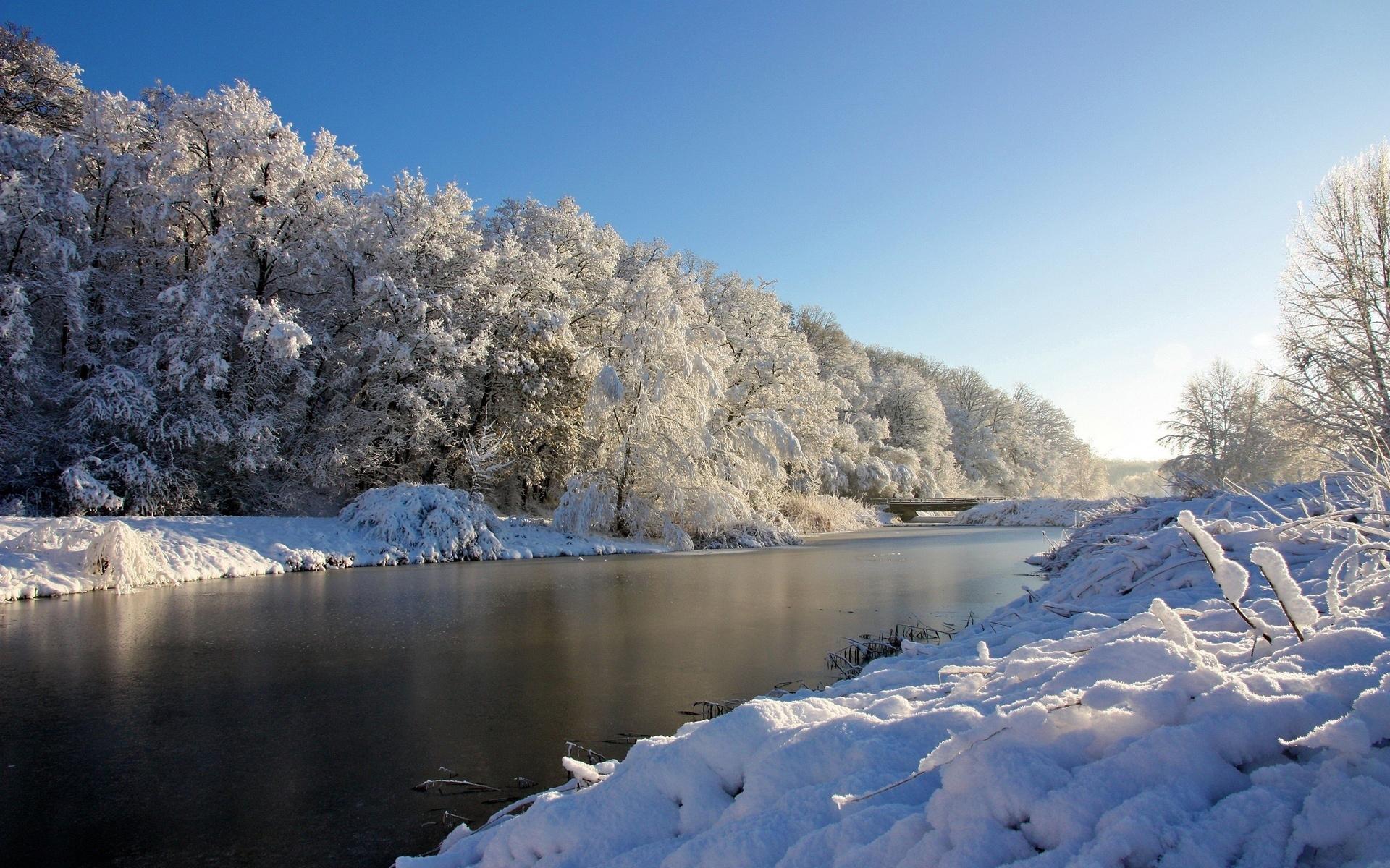 27024 скачать обои Пейзаж, Зима, Река, Деревья, Снег - заставки и картинки бесплатно