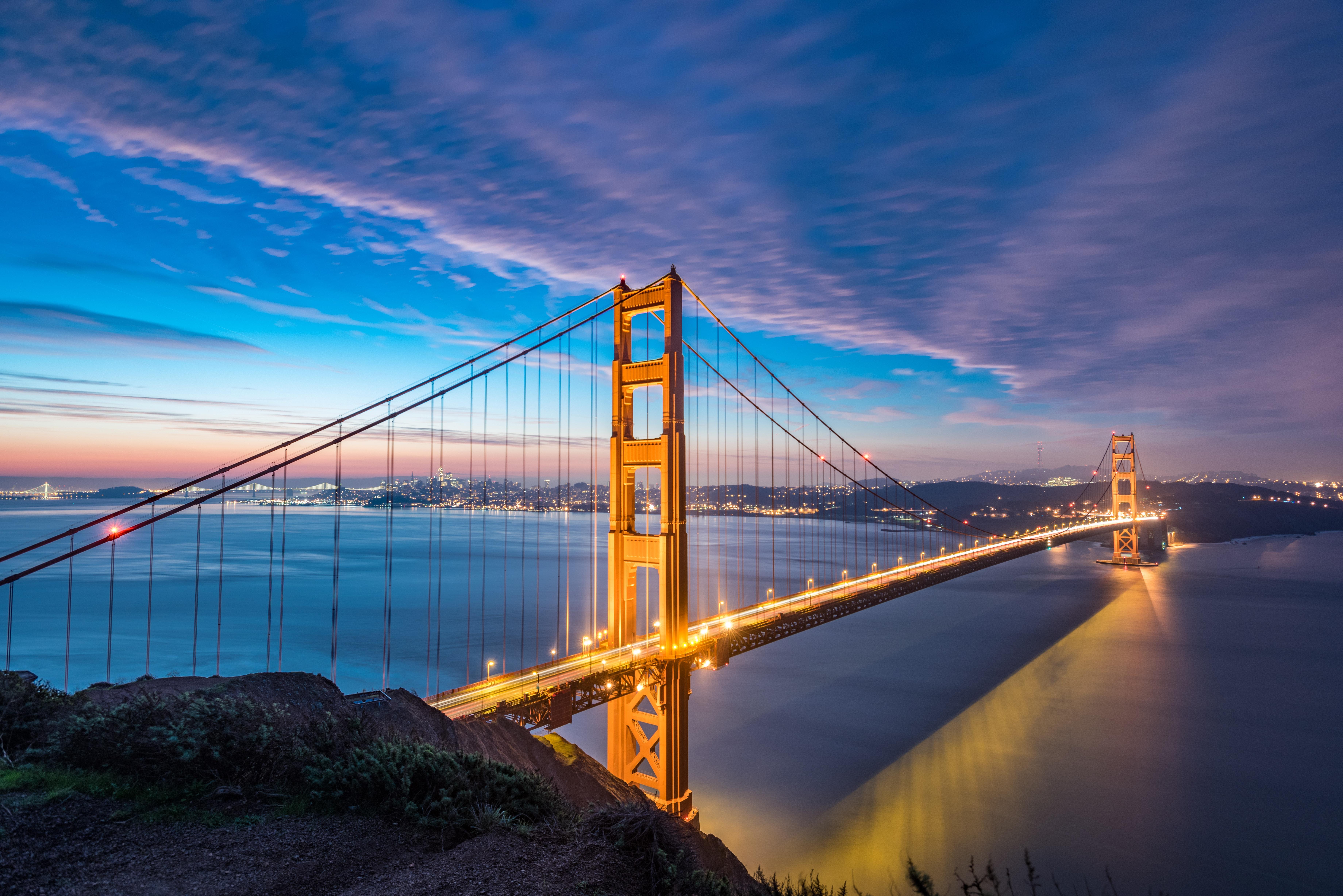 149203 Заставки и Обои Города на телефон. Скачать Мост, Рассвет, Пролив, Золотые Ворота, Сан-Франциско, Города картинки бесплатно