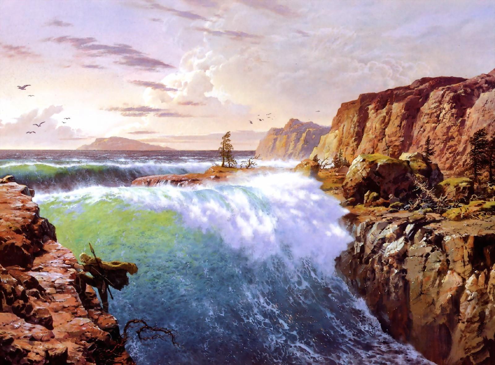100717 скачать обои Фэнтези, Водопад, Скалы, Ветер, Воин, Птицы - заставки и картинки бесплатно