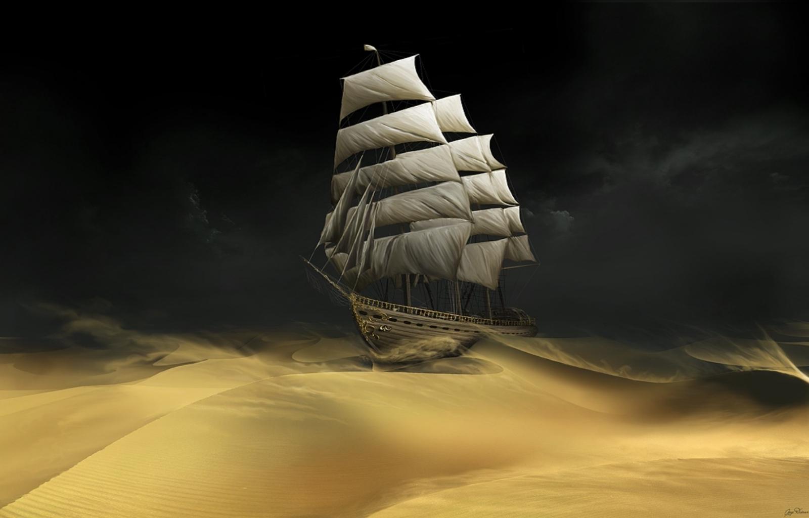 26021 Hintergrundbild herunterladen Fantasie, Transport, Landschaft, Schiffe, Sand, Wüste - Bildschirmschoner und Bilder kostenlos