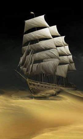 26021 télécharger le fond d'écran Transports, Paysage, Fantaisie, Navires, Sable, Désert - économiseurs d'écran et images gratuitement