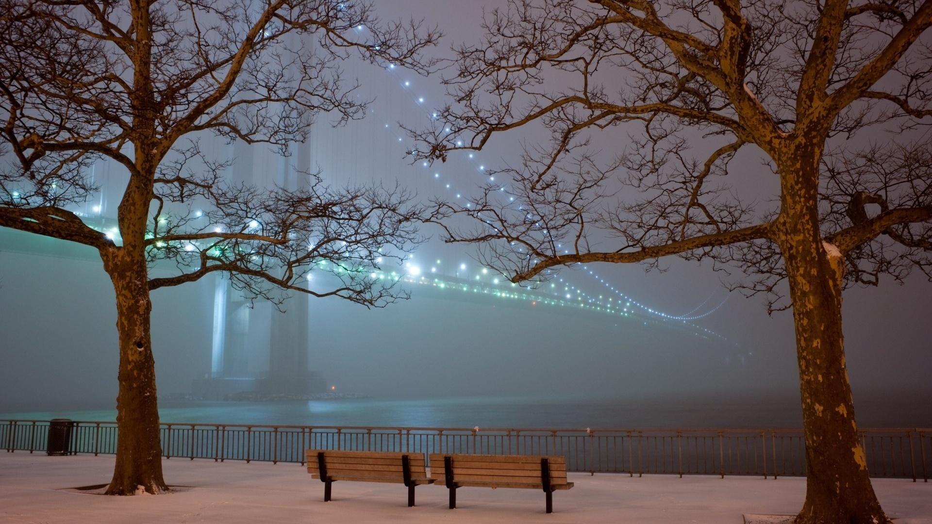 23881 скачать обои Пейзаж, Зима, Мосты, Деревья, Ночь - заставки и картинки бесплатно