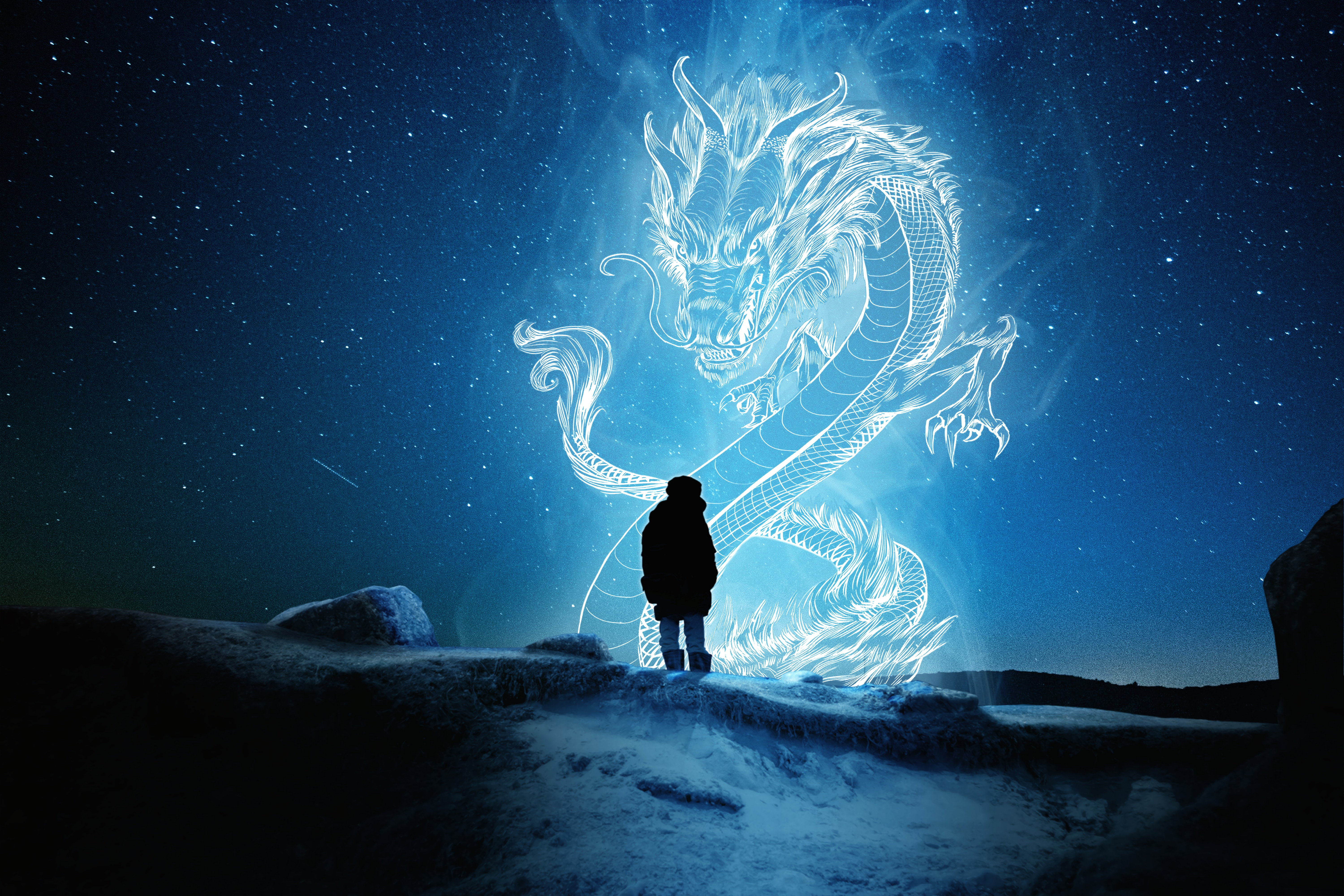 57407 download wallpaper Silhouette, Dragon, Illusion, Art screensavers and pictures for free