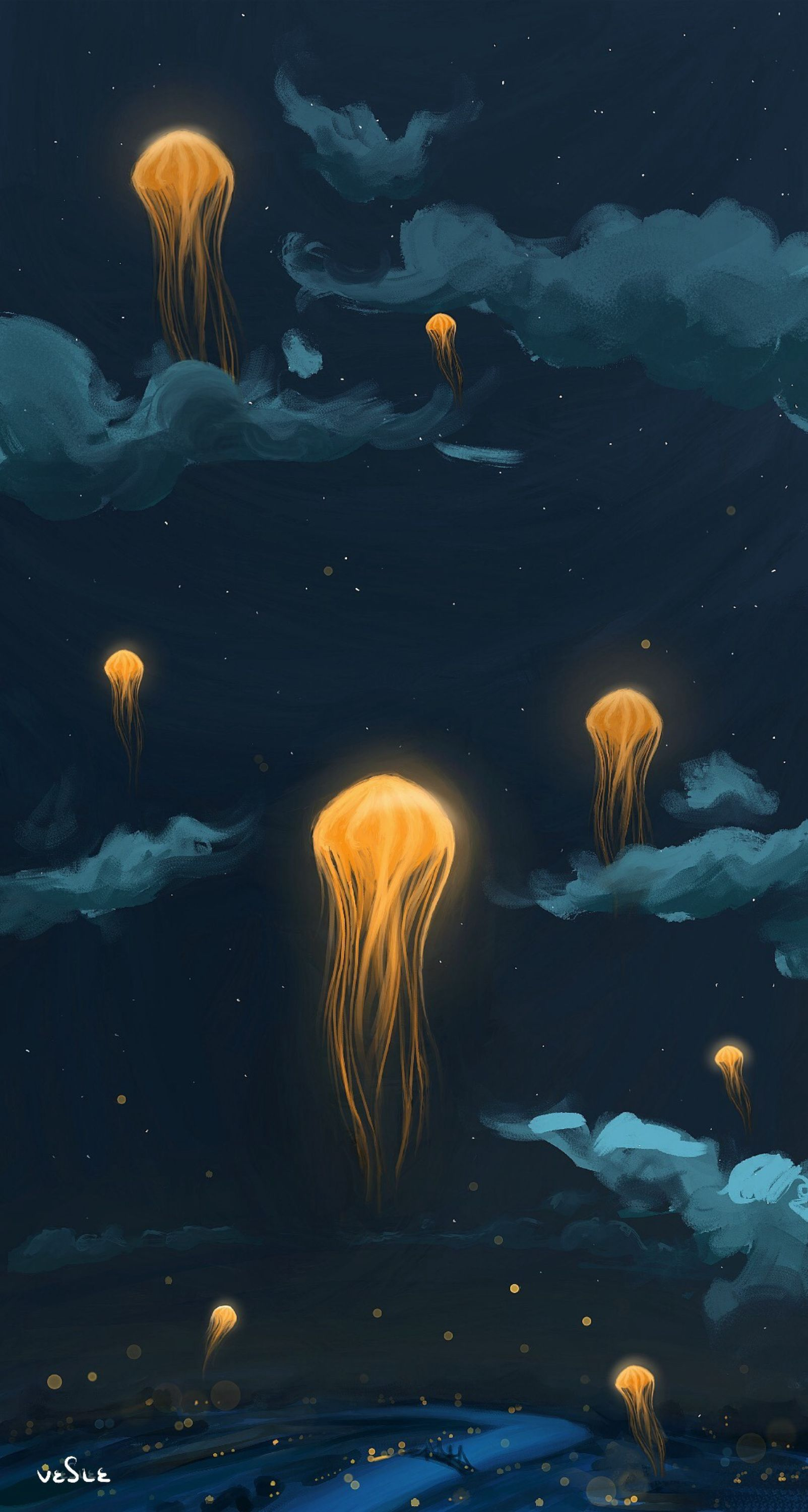135779 download wallpaper Sky, Art, Night, Jellyfish, Fantastic, Flashlights screensavers and pictures for free
