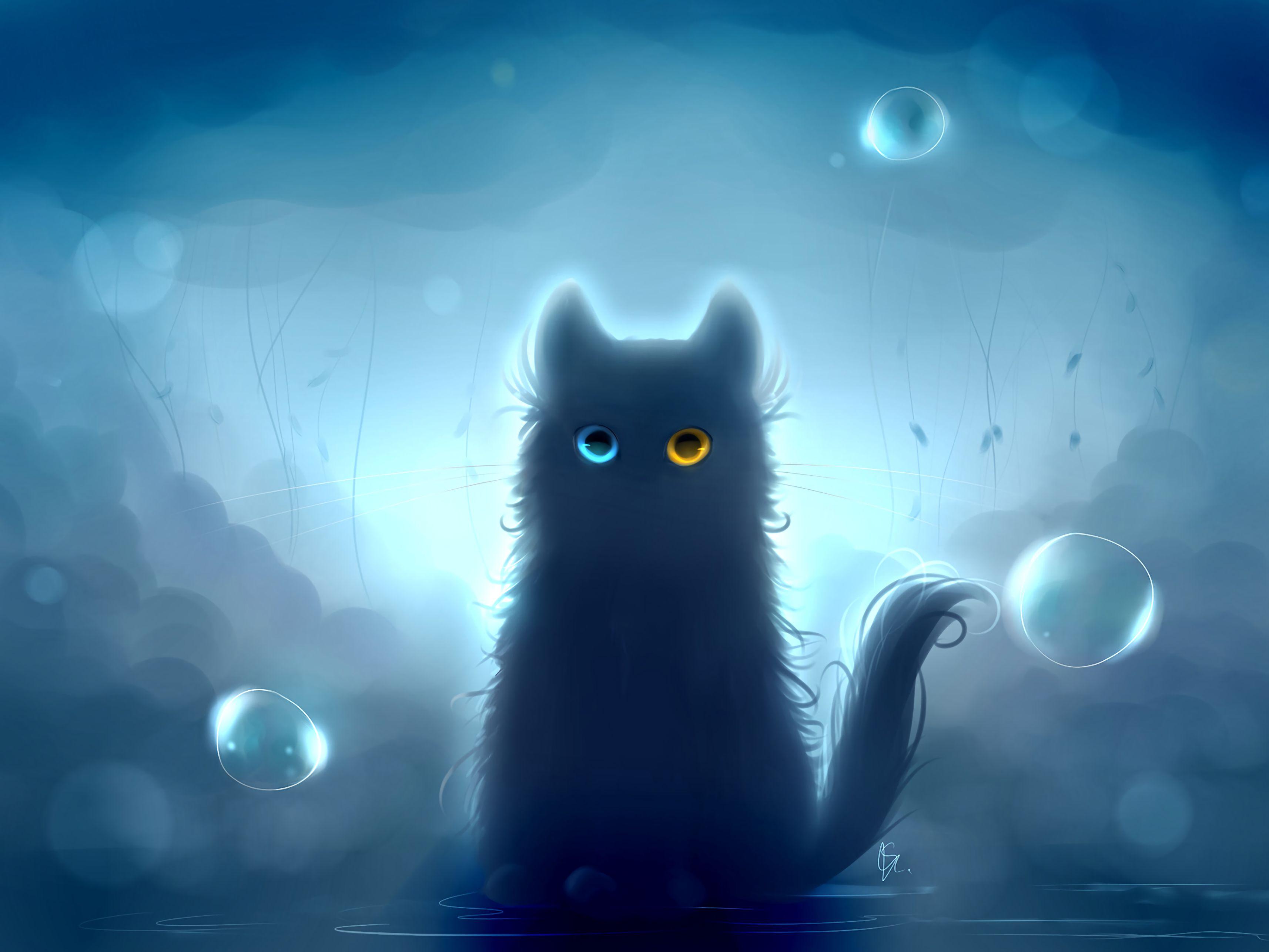 89799 Hintergrundbild herunterladen Kunst, Der Kater, Katze, Schwarzer Kater, Black Cat, Heterochromie, Heterochromia - Bildschirmschoner und Bilder kostenlos