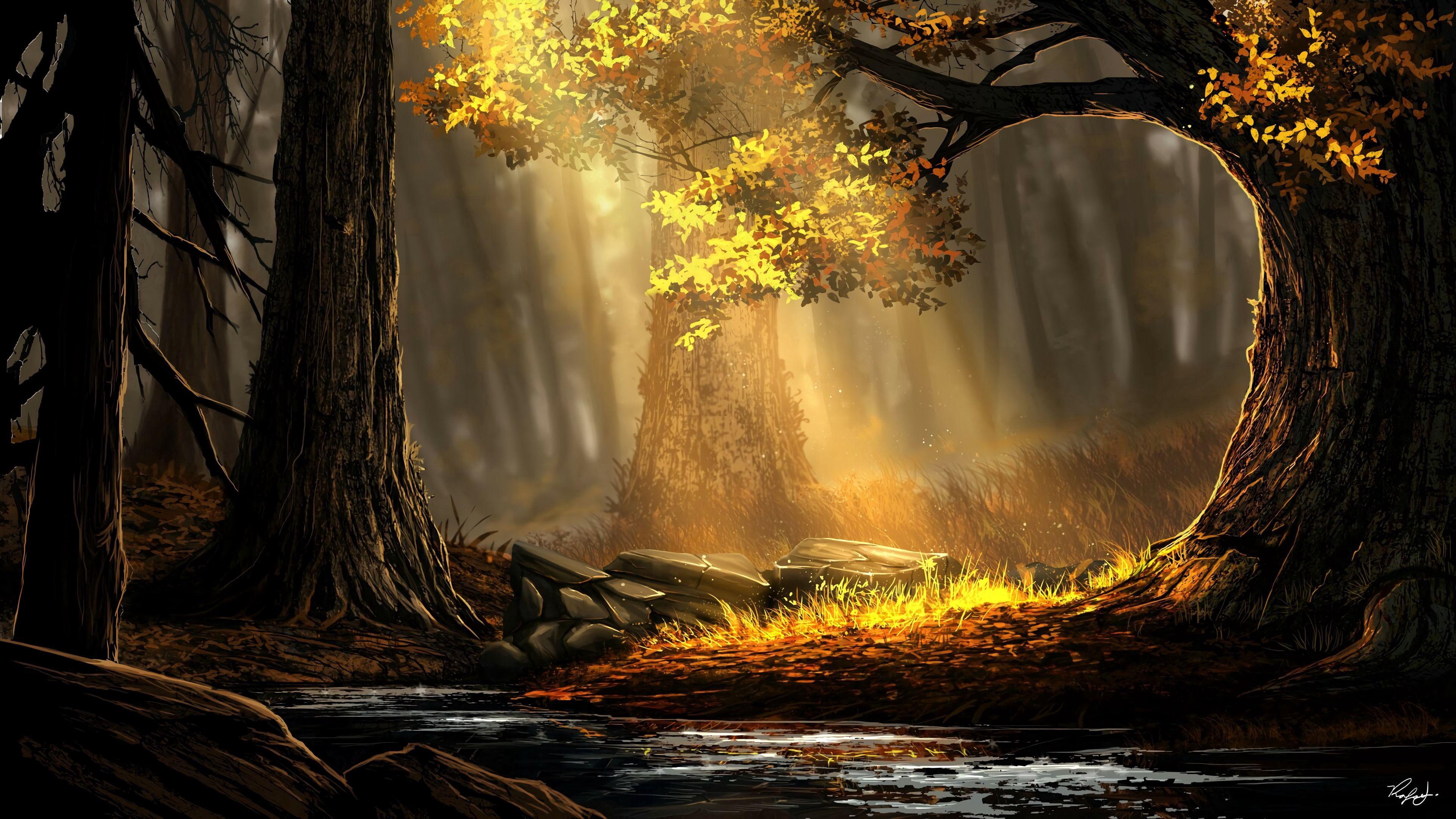 91850 скачать обои Лес, Река, Деревья, Солнечный Свет, Арт, Природа - заставки и картинки бесплатно