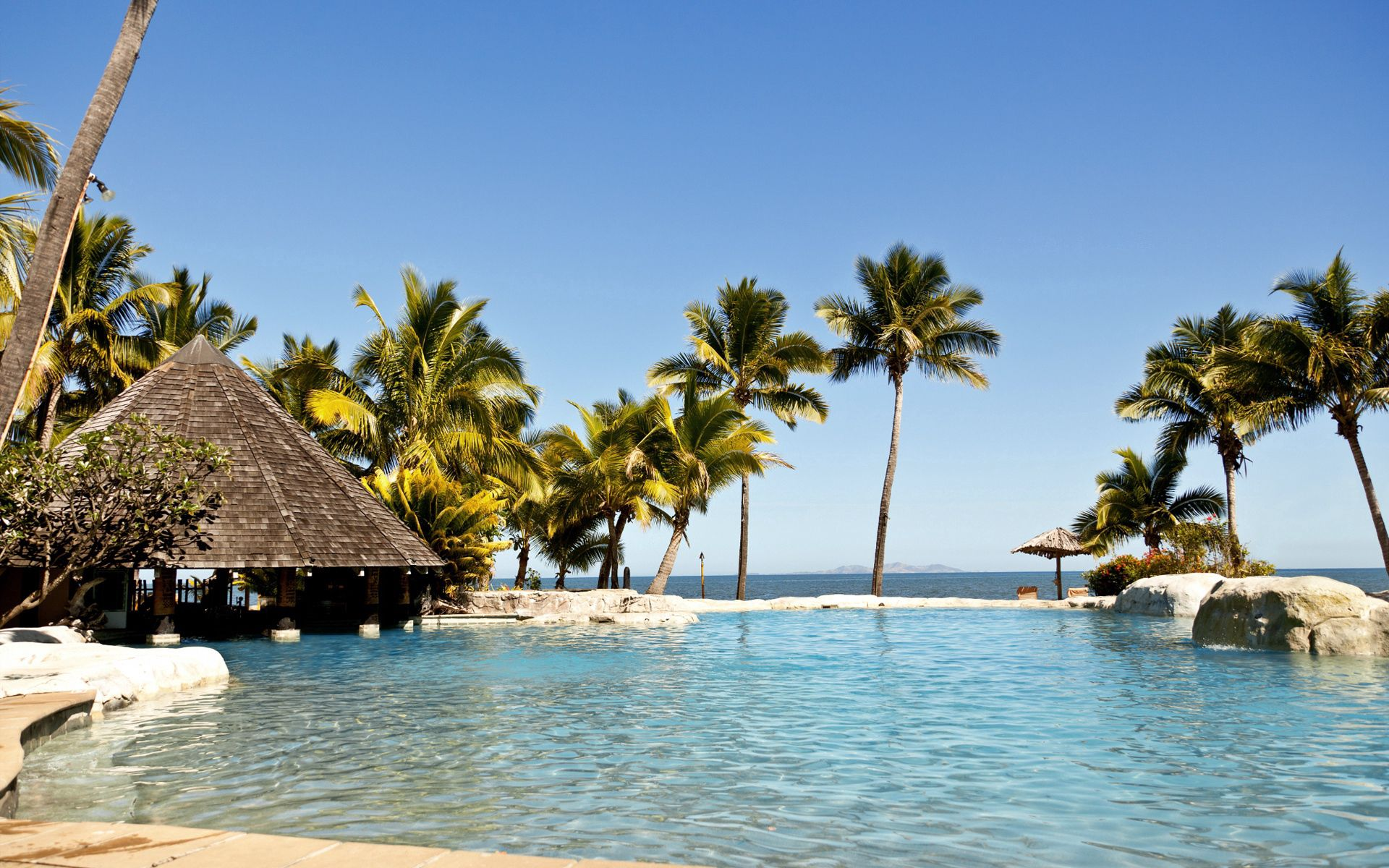 111962 download wallpaper Nature, Tropics, Pool, Bungalow, Hotel screensavers and pictures for free