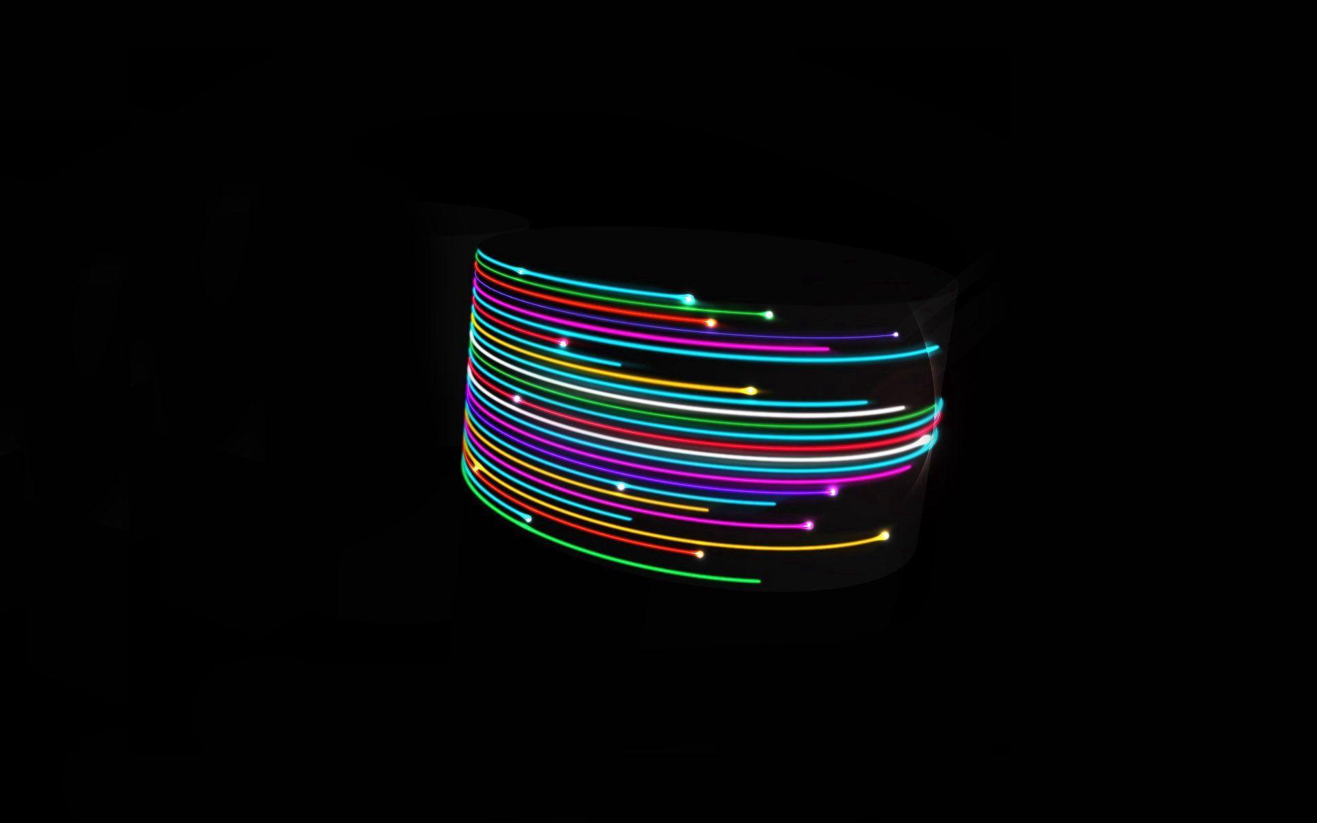 98771 скачать обои Абстракция, Линии, Свет, Разноцветный, Яркий, Черный, Фон - заставки и картинки бесплатно