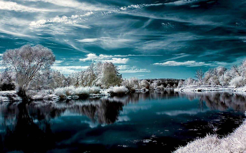 27279 скачать обои Пейзаж, Река, Деревья, Облака, Снег - заставки и картинки бесплатно