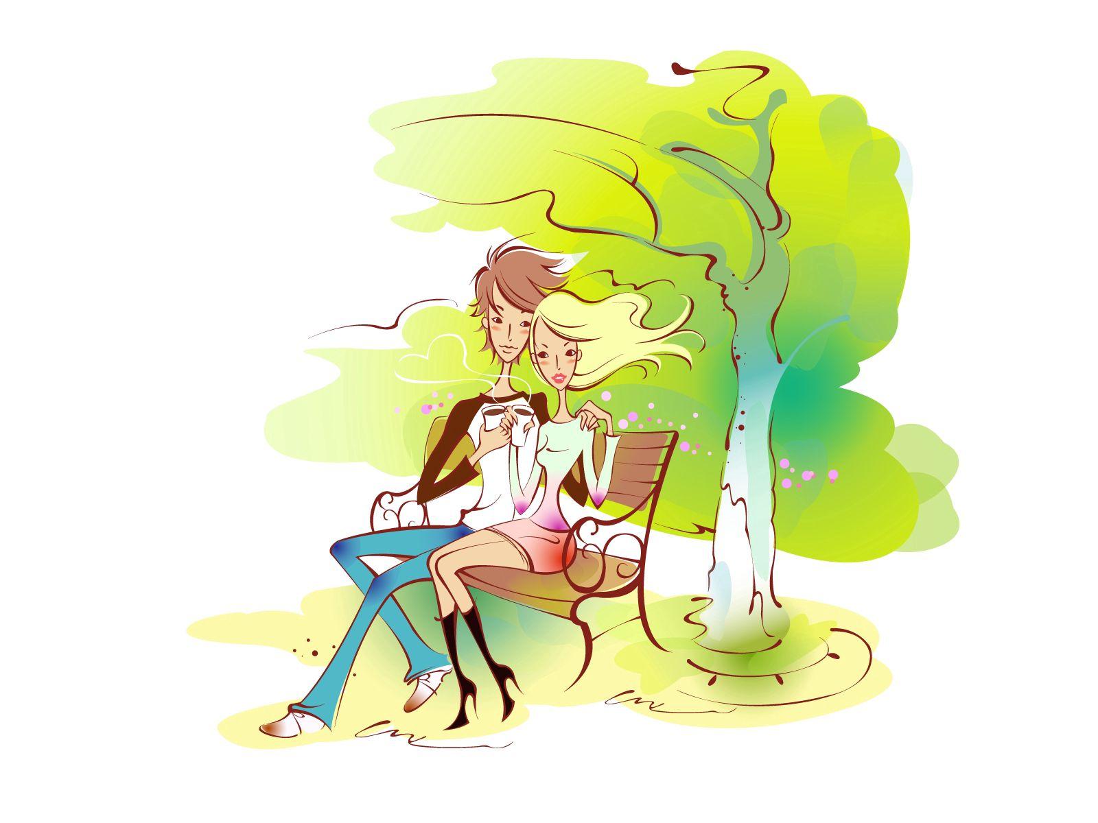 92431 скачать обои Пара, Арт, Рисунок, Любовь, Скамейка, Парк, Объятие - заставки и картинки бесплатно