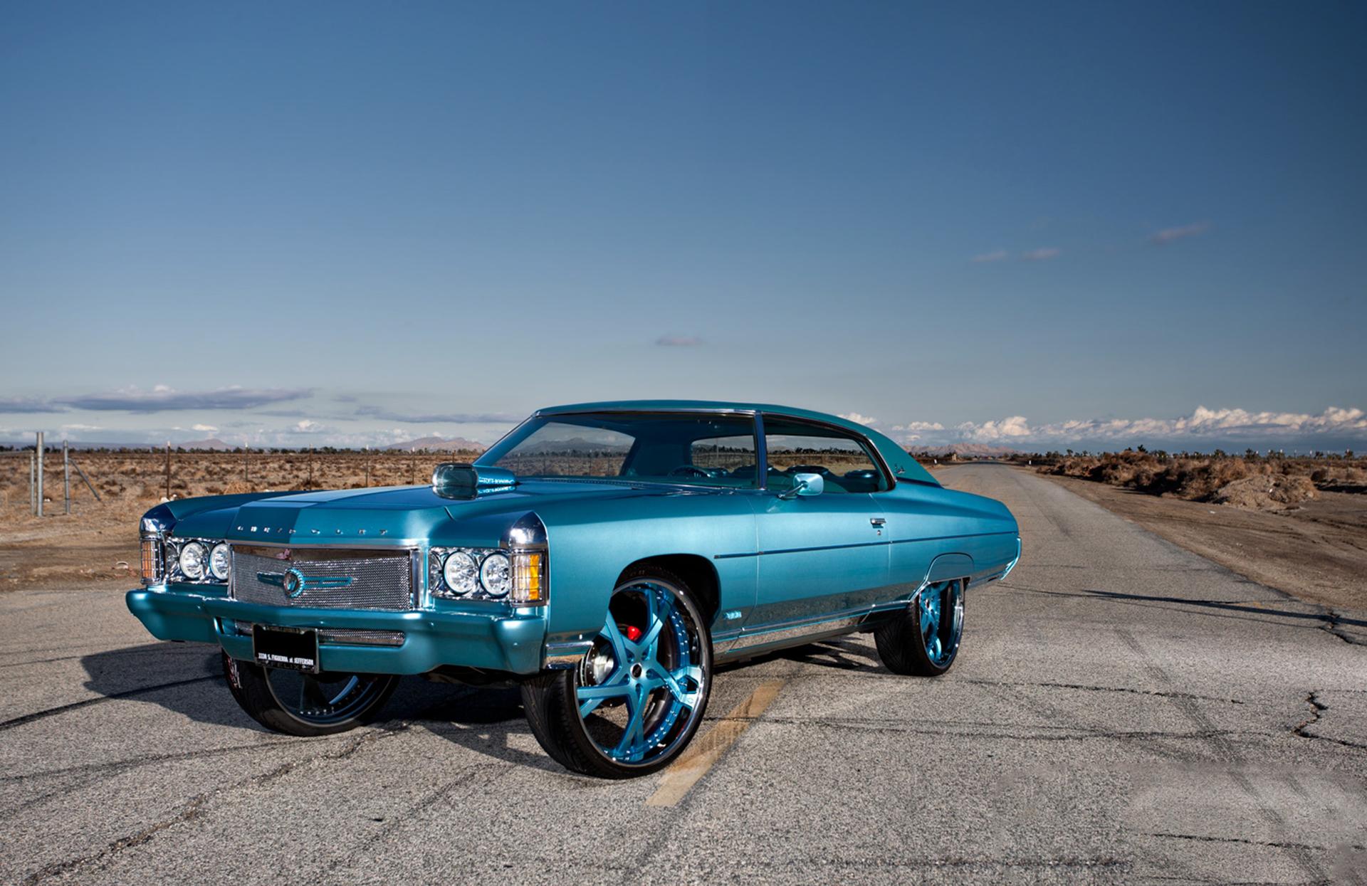 100195 скачать обои Тачки (Cars), Шевроле (Chevrolet), Impala, 1971, Синий, Вид Сбоку - заставки и картинки бесплатно