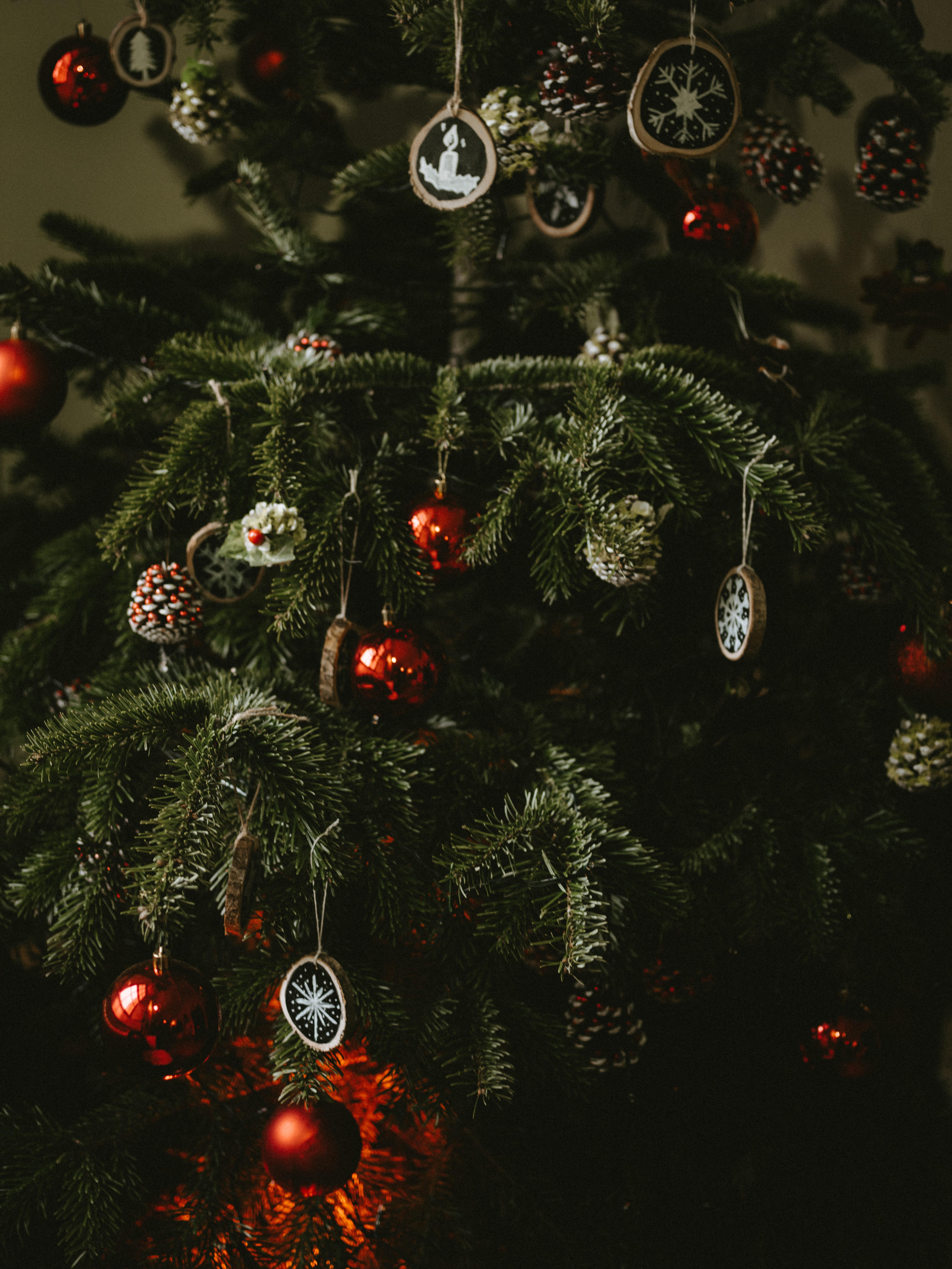 130018 скачать обои Праздники, Елка, Украшения, Шары, Шишки, Новый Год, Рождество - заставки и картинки бесплатно