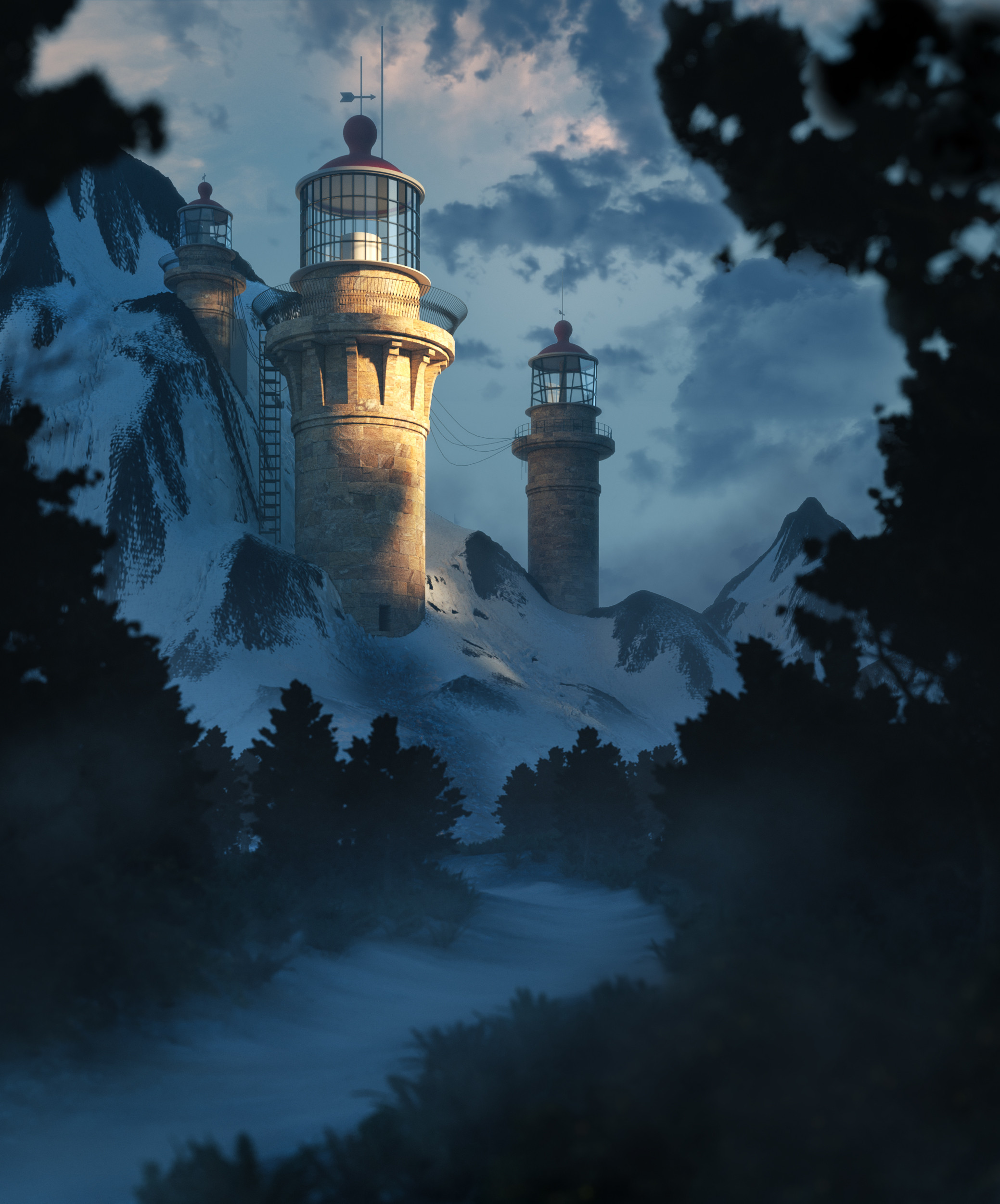 136940 download wallpaper Lighthouse, Building, Rocks, Branches, Rivers, Art screensavers and pictures for free