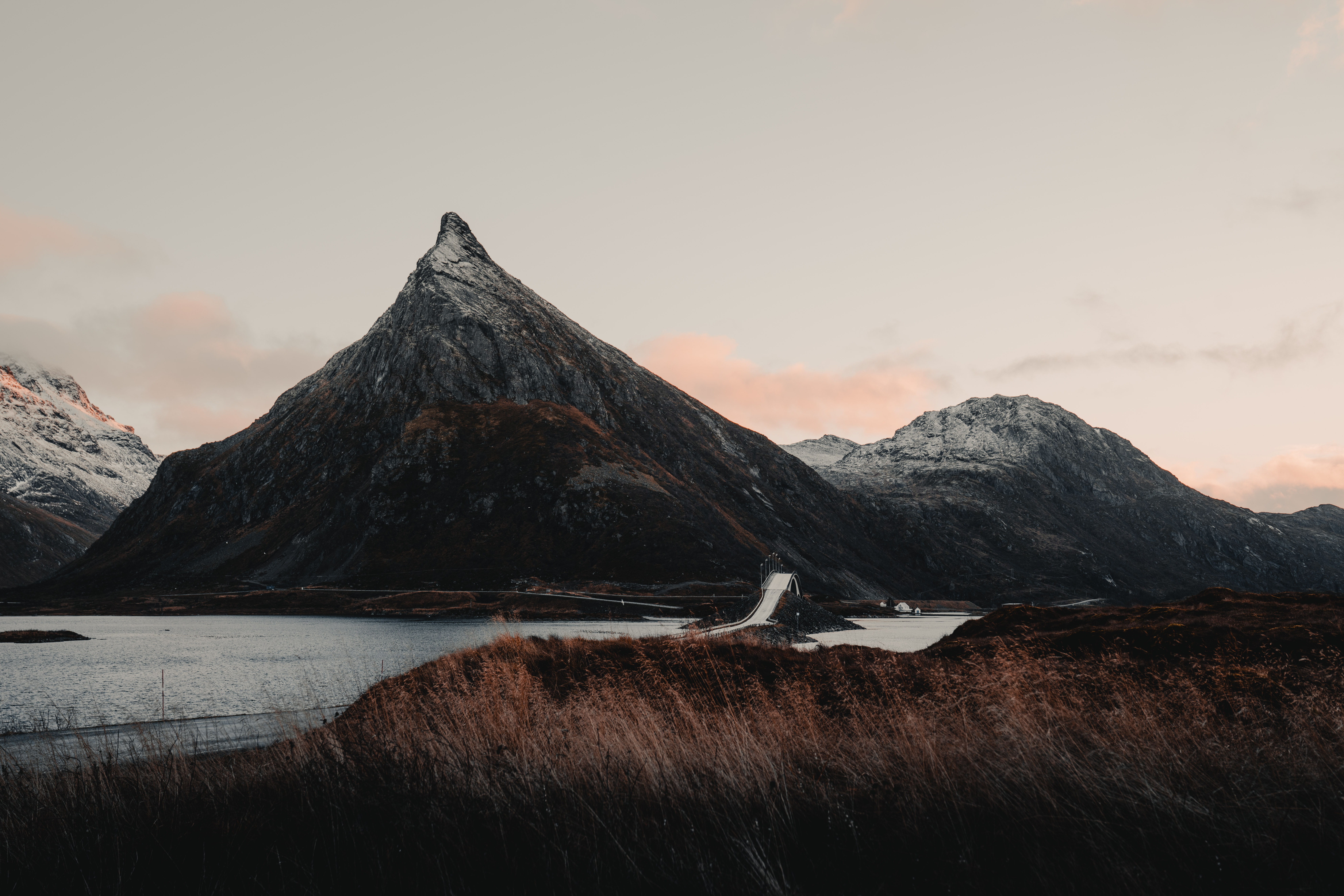 115757 free wallpaper 720x1520 for phone, download images Landscape, Nature, Rivers, Mountains, Bridge, Norway 720x1520 for mobile