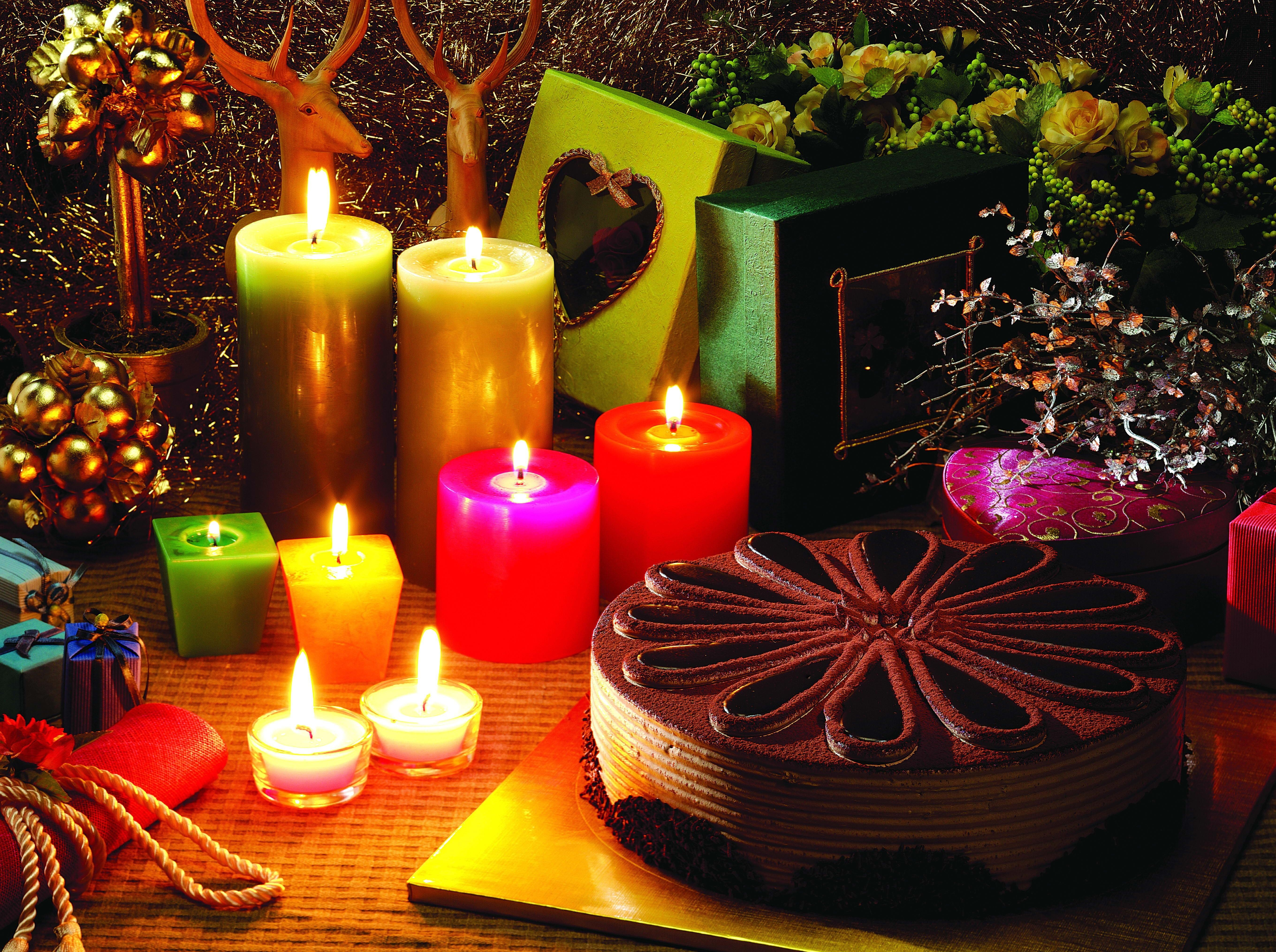 90817 download wallpaper Holidays, Christmas Candles, New Year's Candles, Cake, Presents, Gifts, Deers, Holiday screensavers and pictures for free