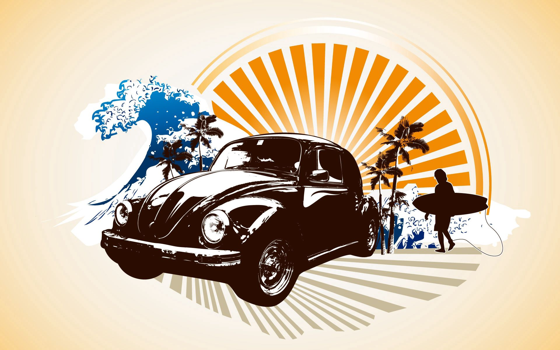 99925 download wallpaper Vector, Car, Sea, Serfing, Waves screensavers and pictures for free