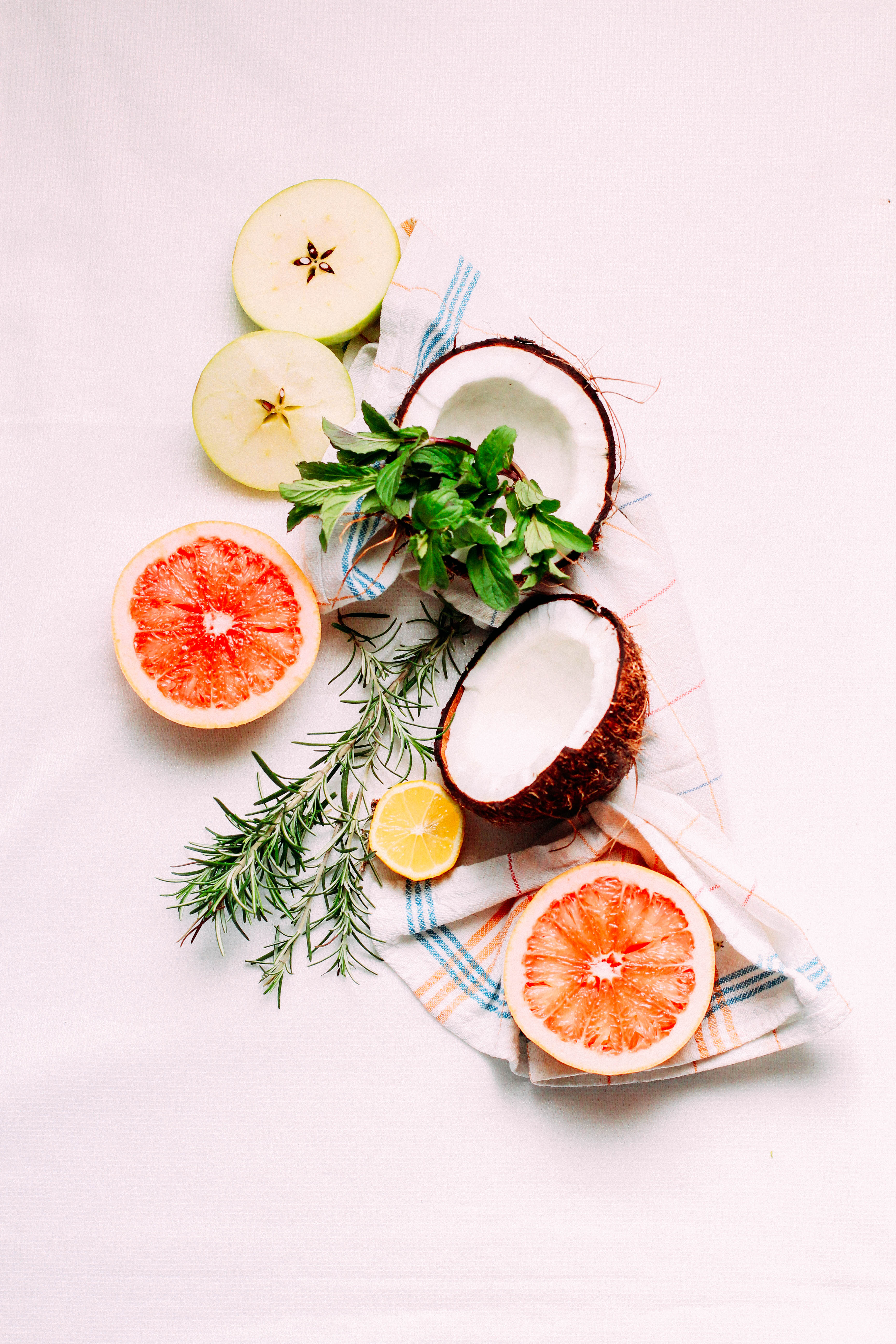 64594 download wallpaper Fruits, Food, Apples, Herbs, Herbage, Coconut, Grapefruit screensavers and pictures for free