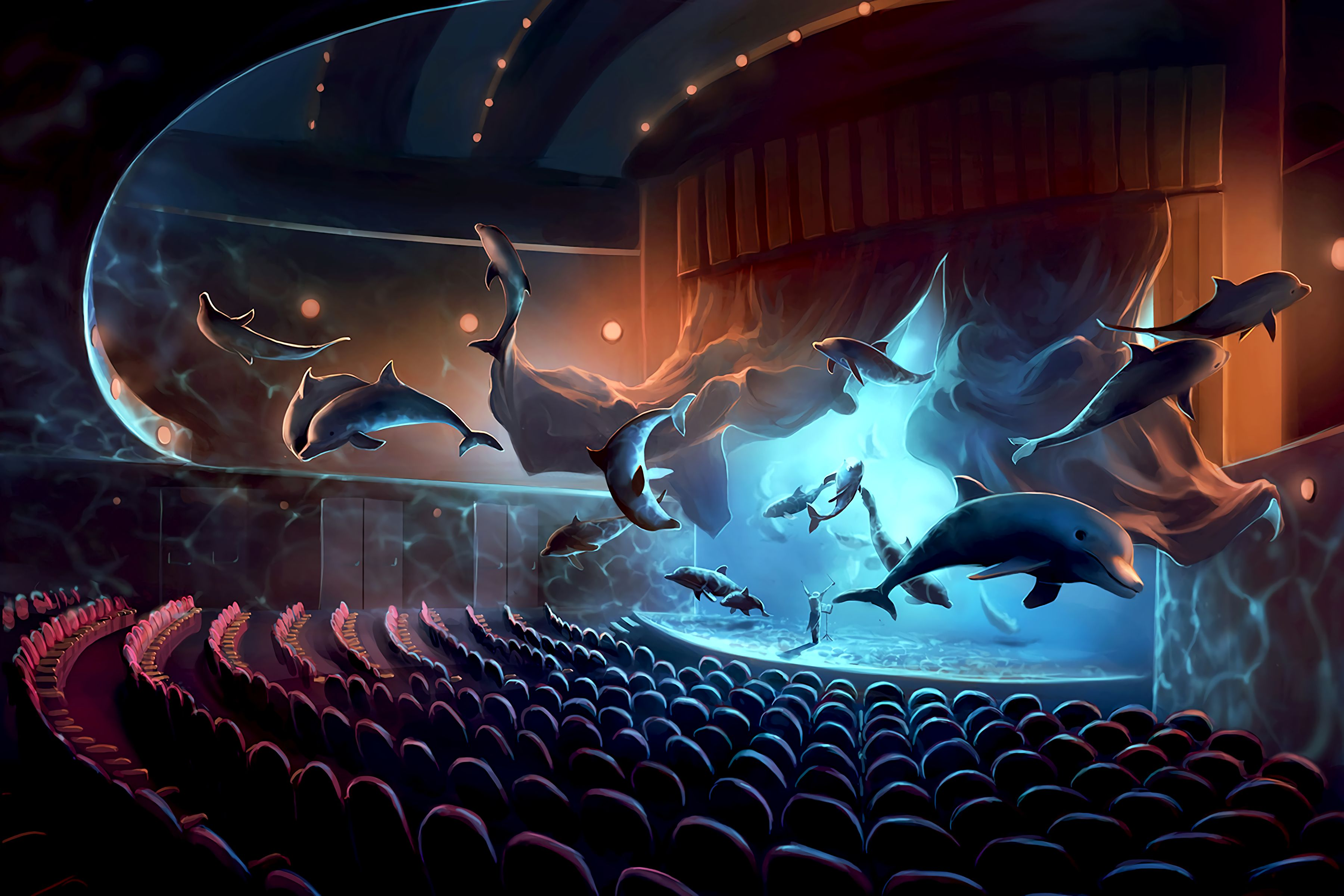 53843 download wallpaper Art, Dolfins, Musician, Concert, Surrealism screensavers and pictures for free