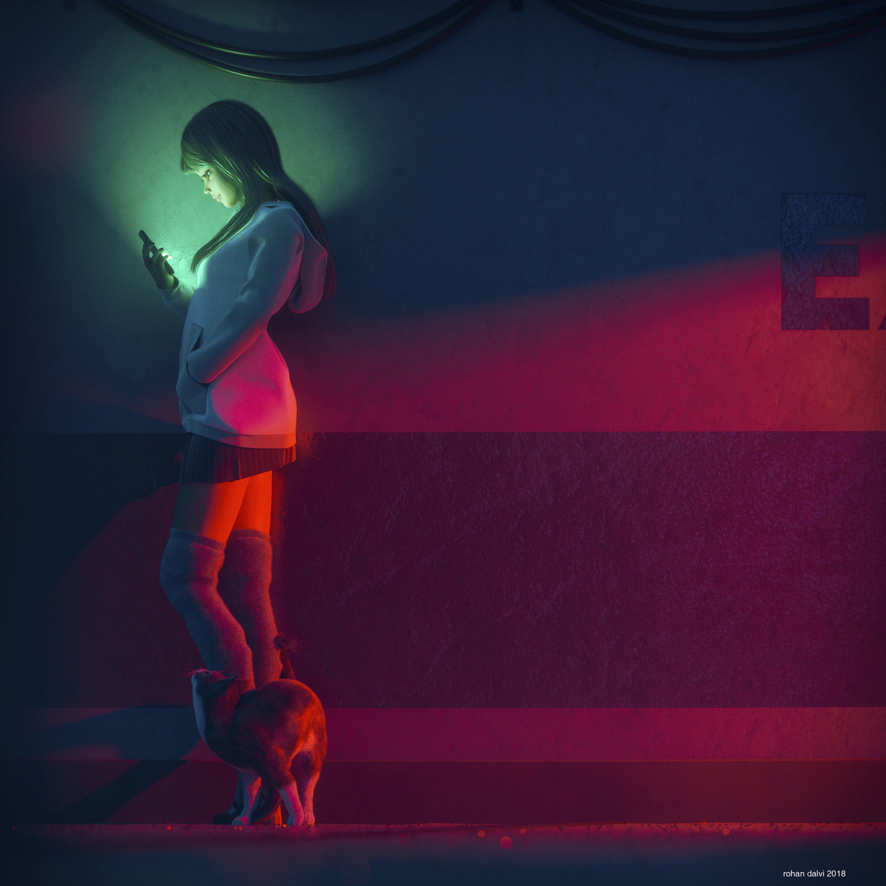 113073 download wallpaper Girl, Art, Cat, Illumination, Lighting, Telephone screensavers and pictures for free
