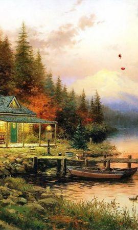 129 скачать обои Пейзаж, Вода, Дома, Река, Арт - заставки и картинки бесплатно