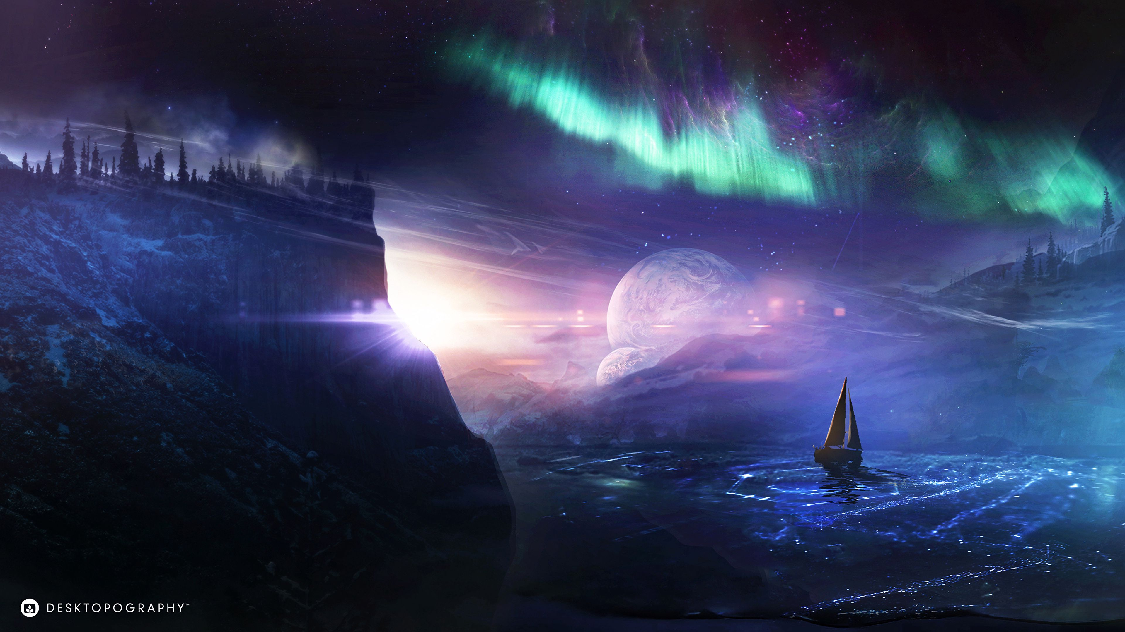 119902 download wallpaper Night, Art, Boat, Planet, Northern Lights, Aurora Borealis screensavers and pictures for free