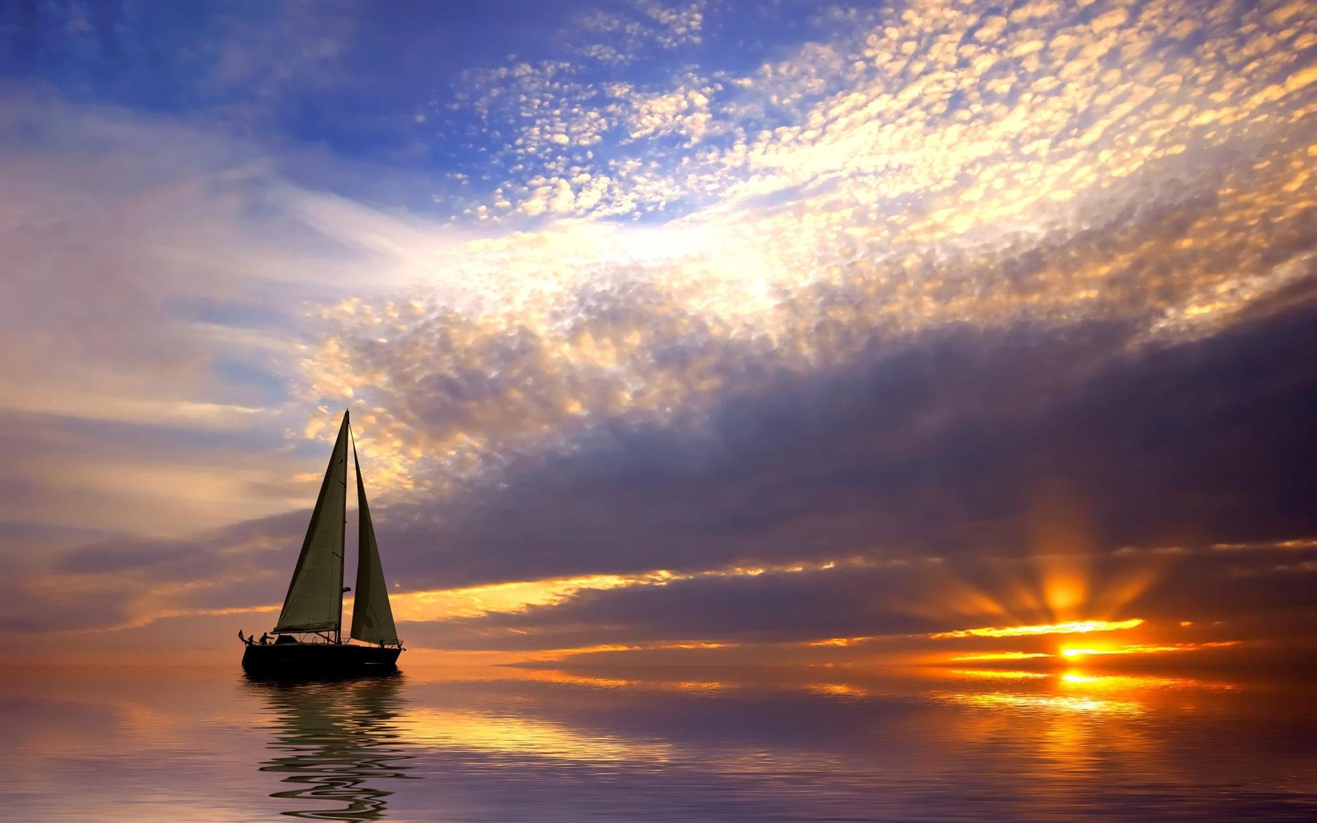 Скачать картинку Транспорт, Пейзаж, Закат, Море, Яхты в телефон бесплатно.