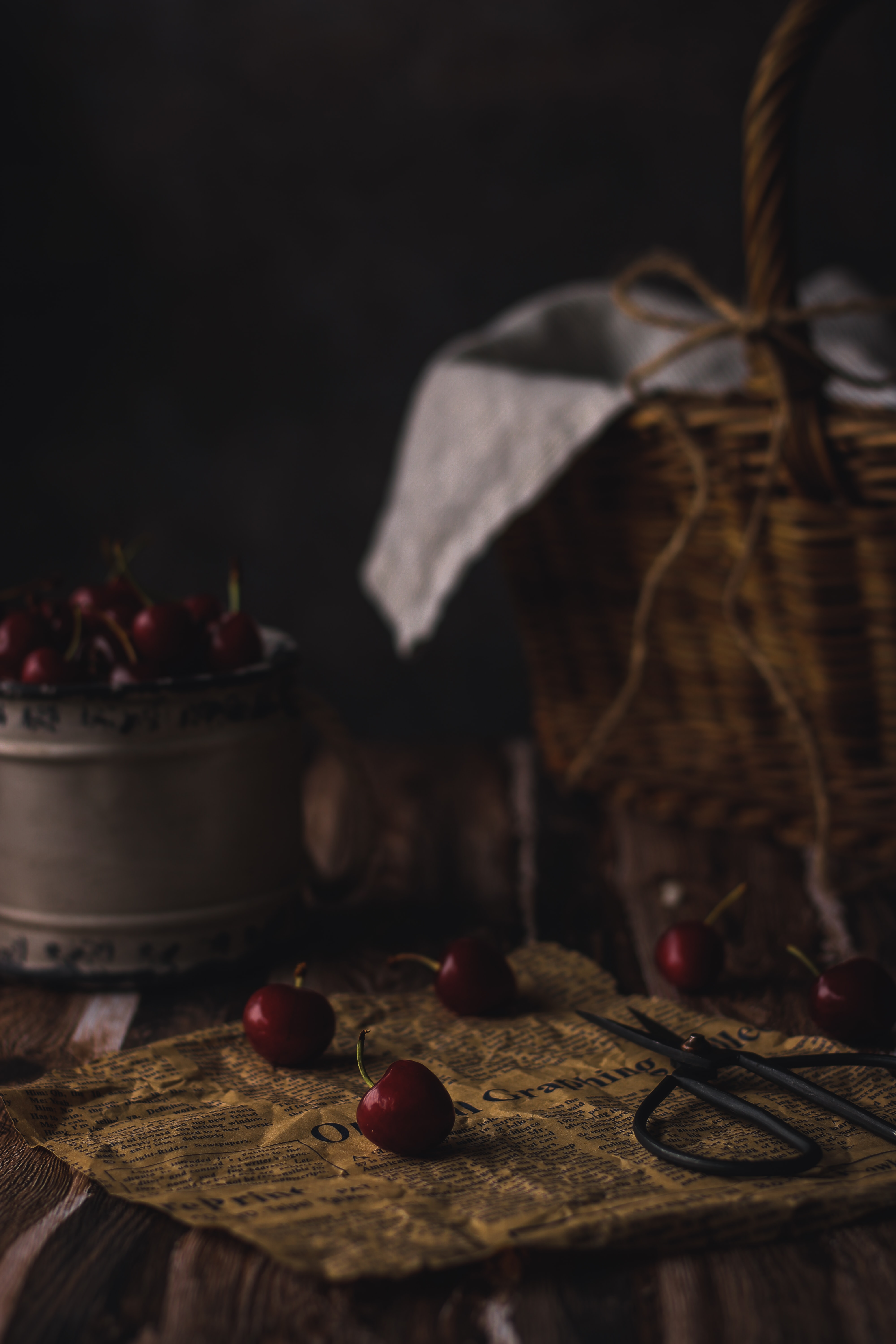 116070 download wallpaper Food, Paper, Scissors, Basket, Berries, Sweet Cherry screensavers and pictures for free