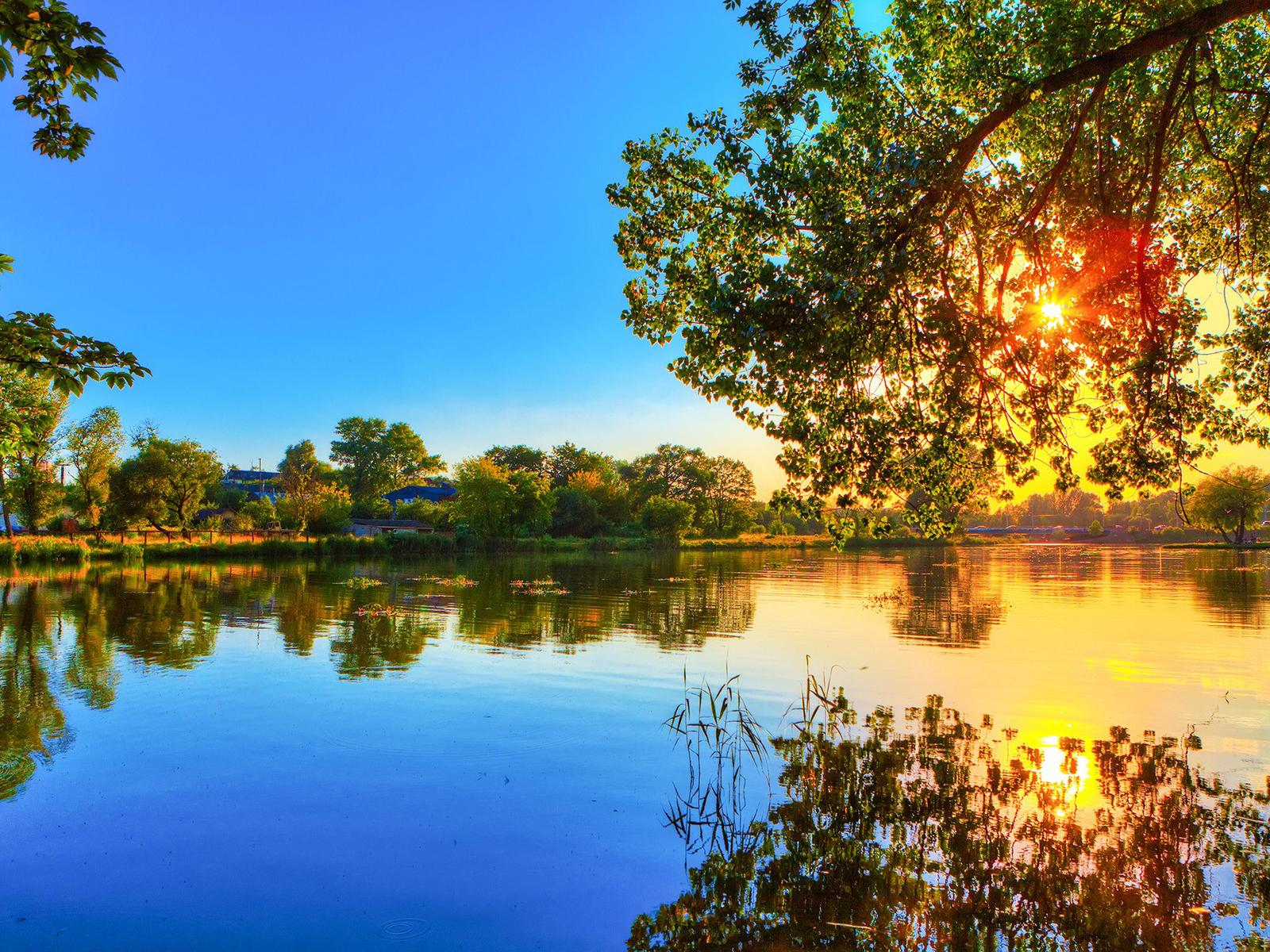 20727 скачать обои Пейзаж, Река, Деревья, Закат - заставки и картинки бесплатно